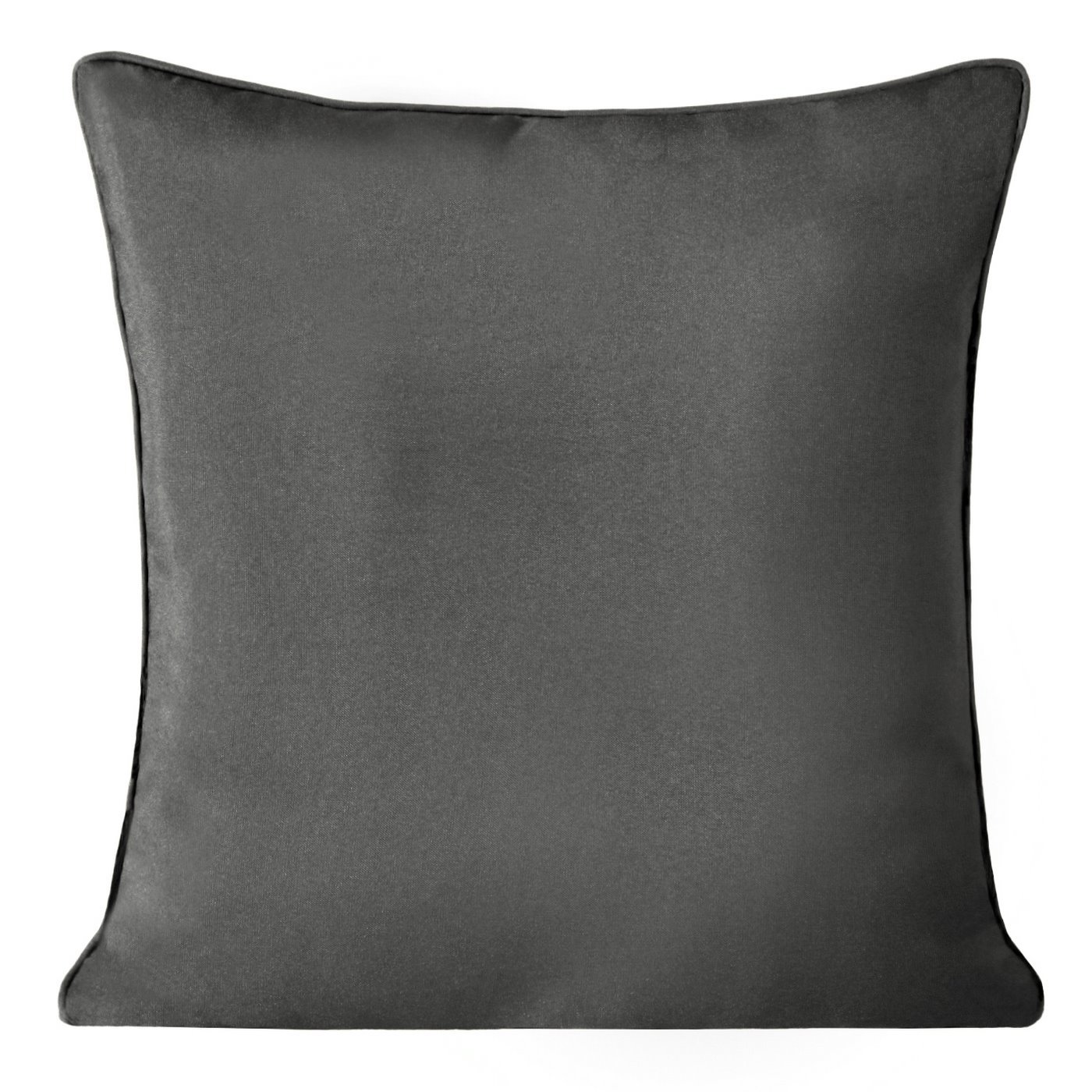 Poszewka na poduszkę gładka z lamówka 50 x 50 cm grafitowa