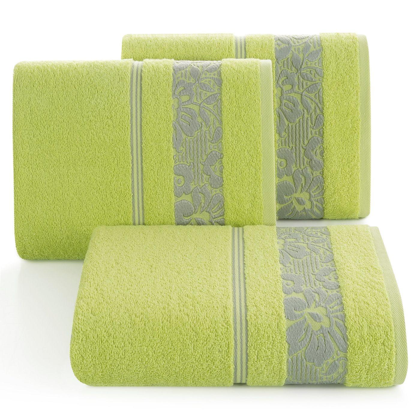 Ręcznik z bawełny z kwiatowym wzorem na bordiurze 70x140cm limonkowy