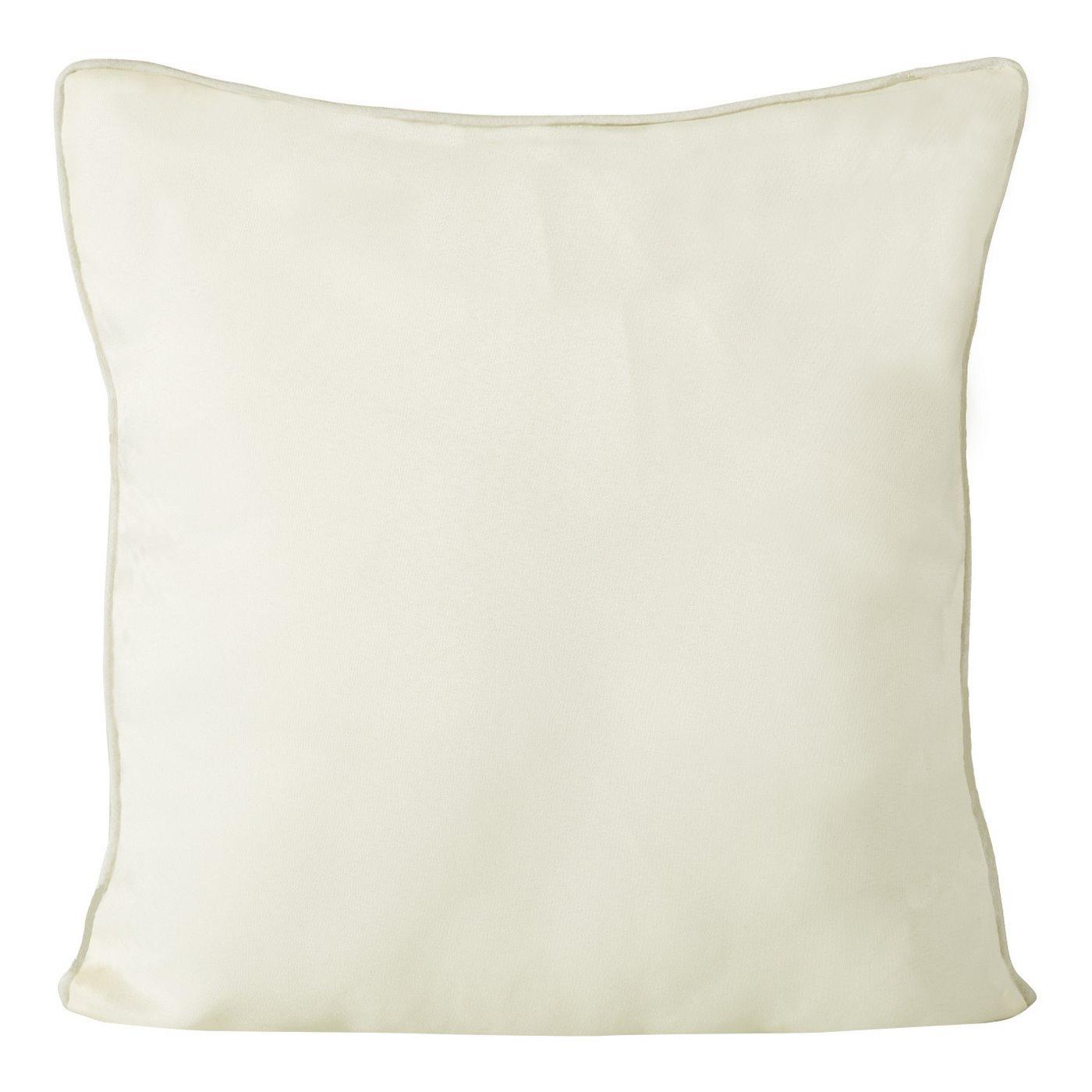 Poszewka na poduszkę gładka z lamówką 50 x 50 cm kremowa