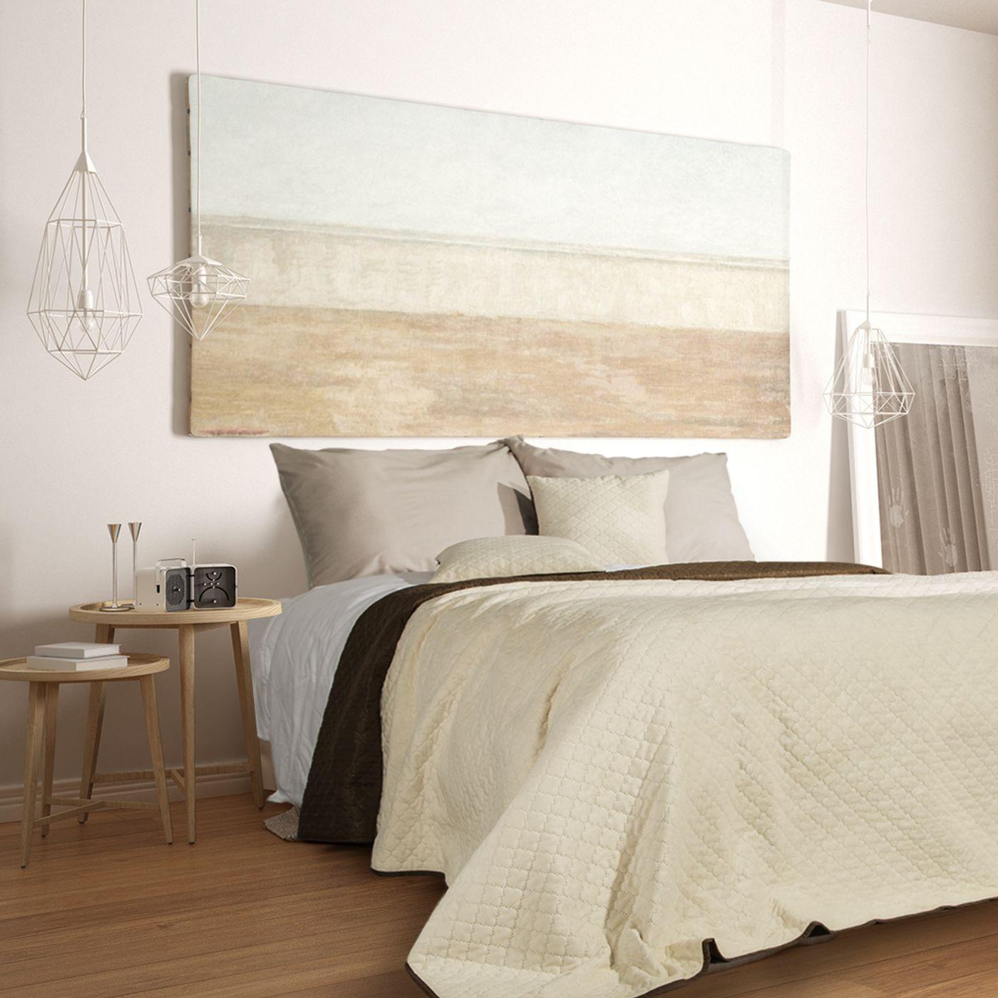 Narzuta na łóżko dwustronna marokańska koniczyna 220x240 cm kremowo-brązowa