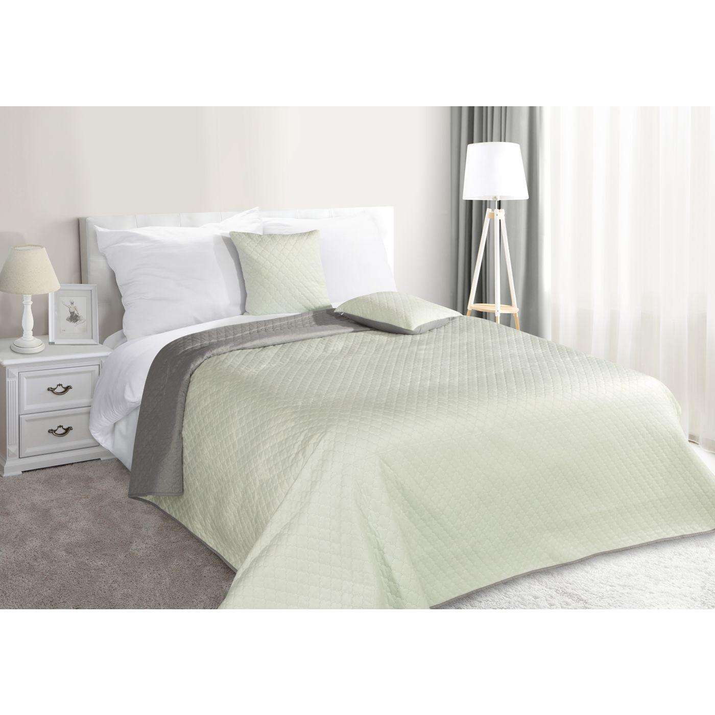 Narzuta na łóżko dwustronna marokańska koniczyna 220x240 cm miętowo-szara