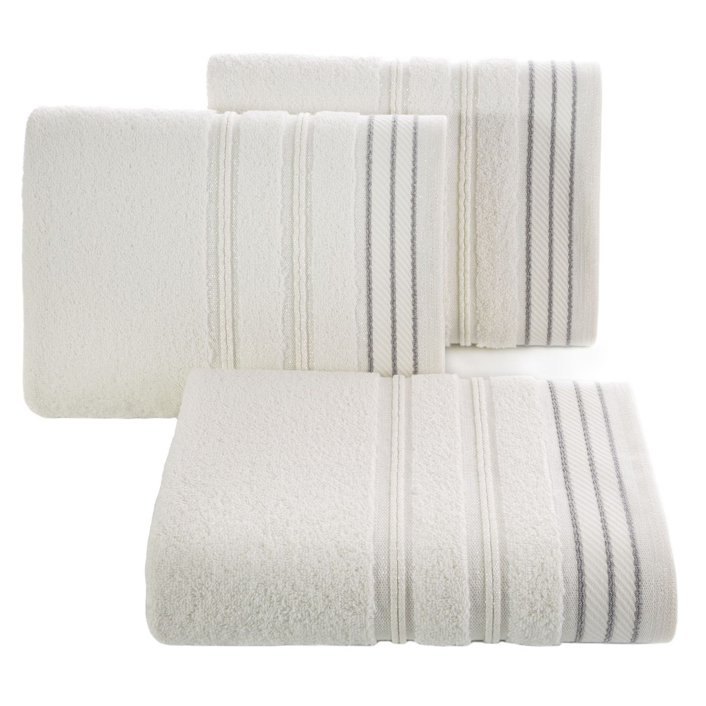 Ręcznik z bawełny z częścią ozdobną przetykaną błyszczącą nicią 50x90cm