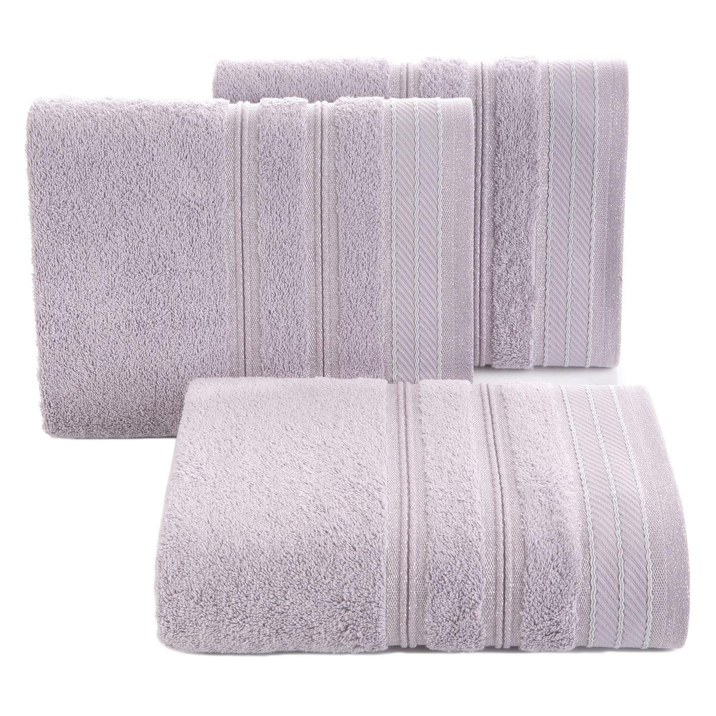 Ręcznik z bawełny z częścią ozdobną przetykaną błyszczącą nicią 70x140cm