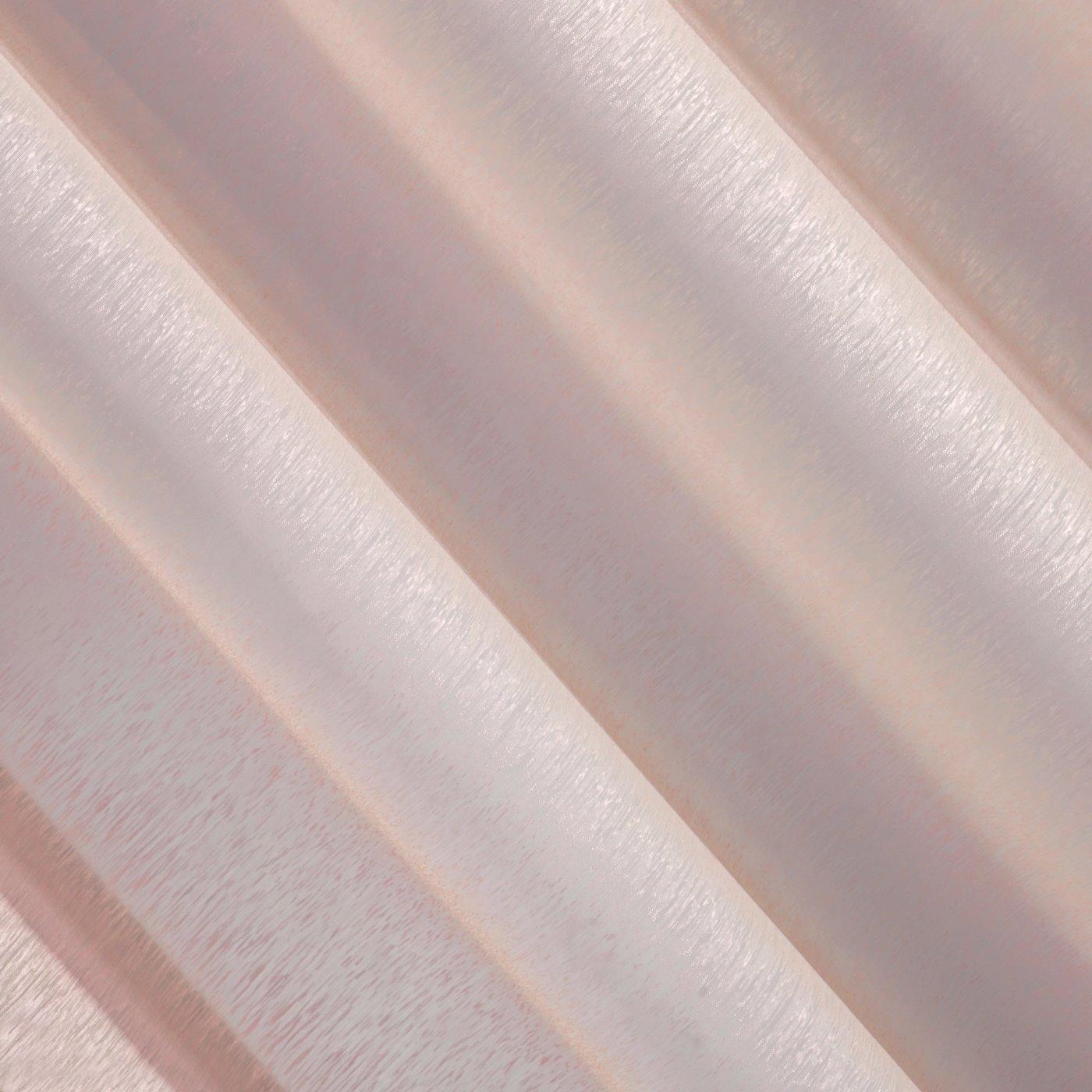 Firana różowa zwiewna o strukturze deszczyku 140 x 300 cm na taśmie