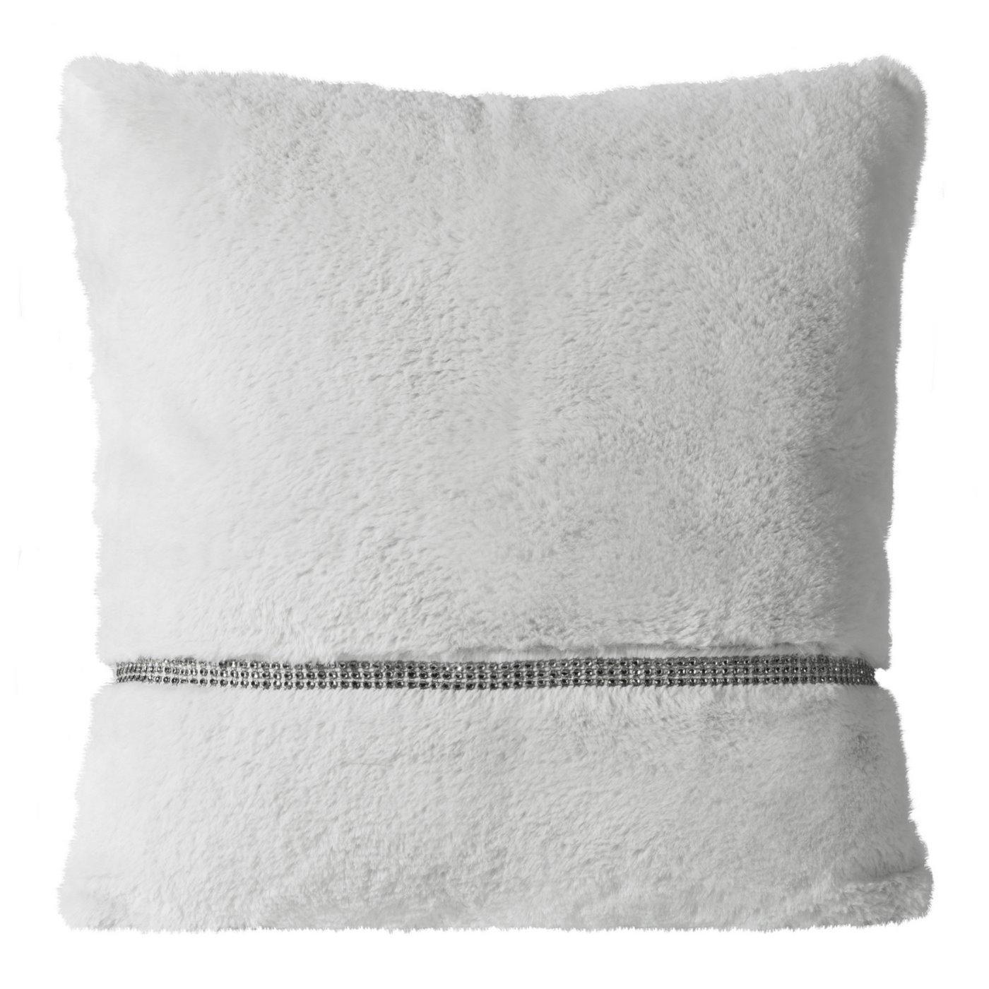 Poszewka na poduszkę 45 x 45 cm szara futerko z połyskującym paskiem