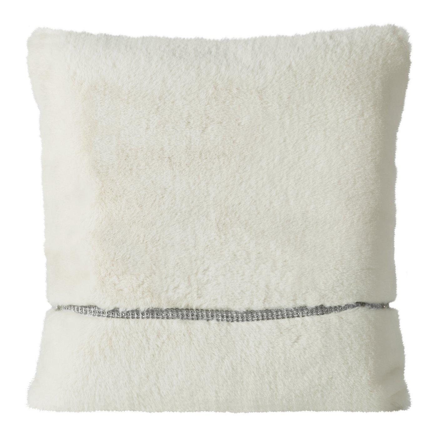 Poszewka na poduszkę 45 x 45 cm kremowa futerko z połyskującym paskiem