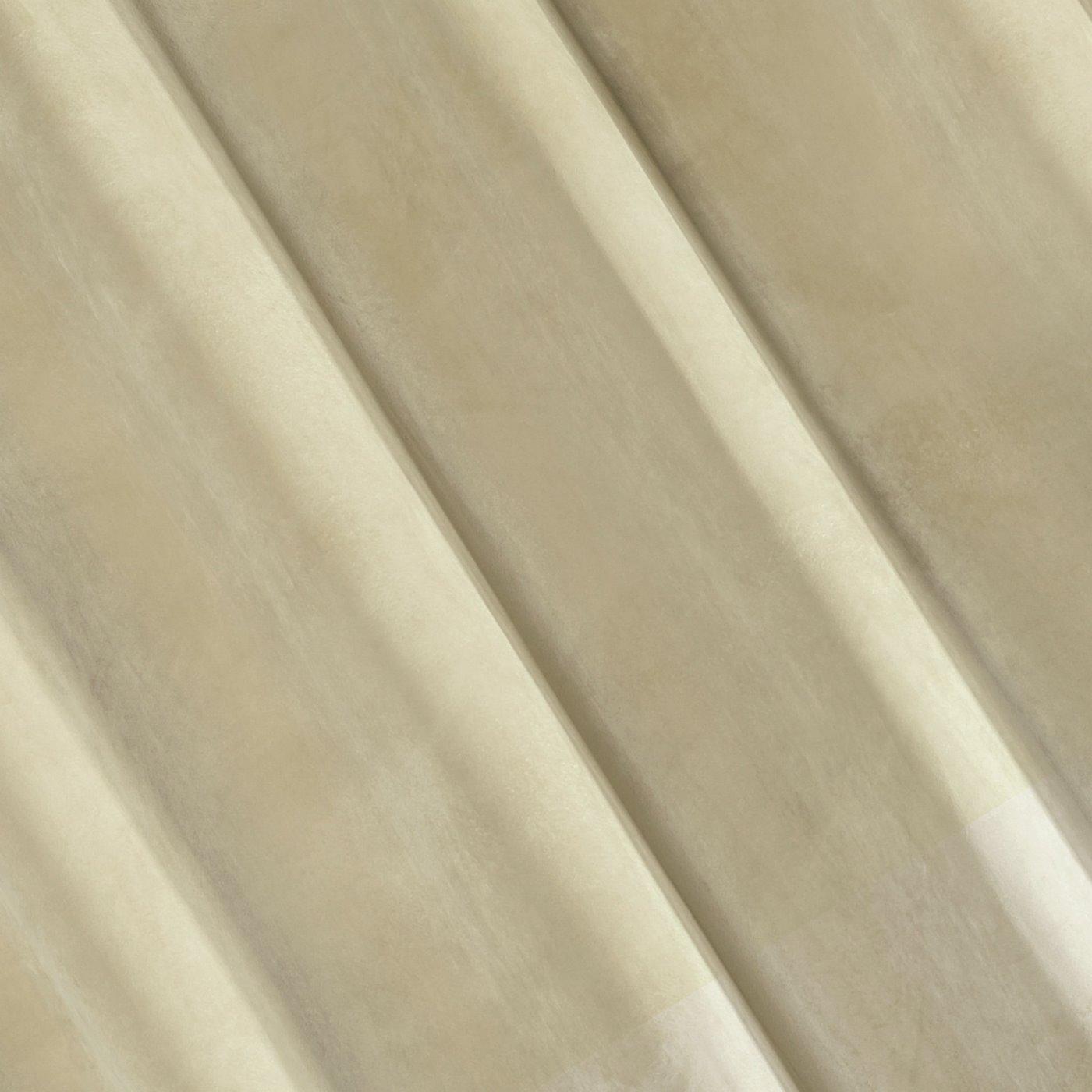 Zasłona z dwóch rodzajów tkaniny welwetowej 140 x 270 cm beżowa na taśmie