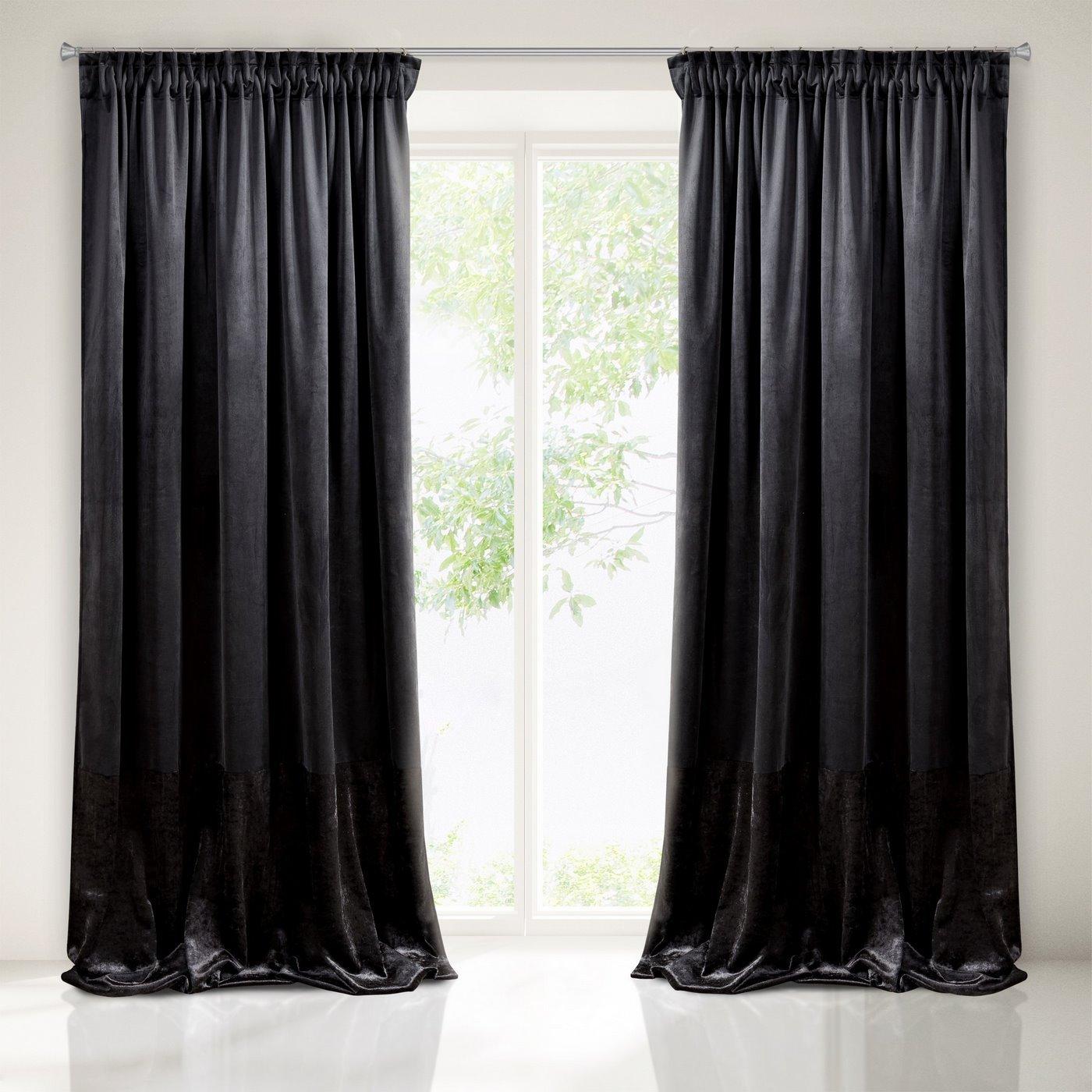 Zasłona z dwóch rodzajów tkaniny welwetowej 140 x 270 cm czarna na taśmie
