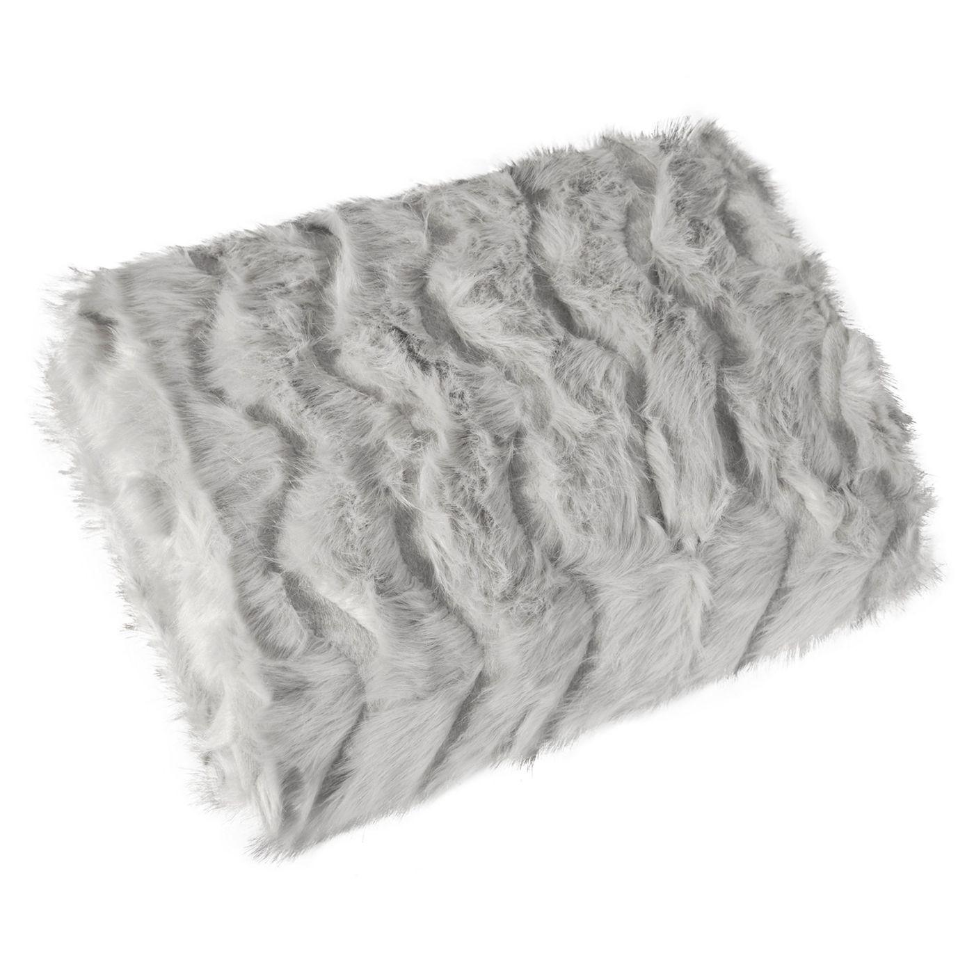 Narzuta na łóżko miękkie futerko 150x180 cm stalowa
