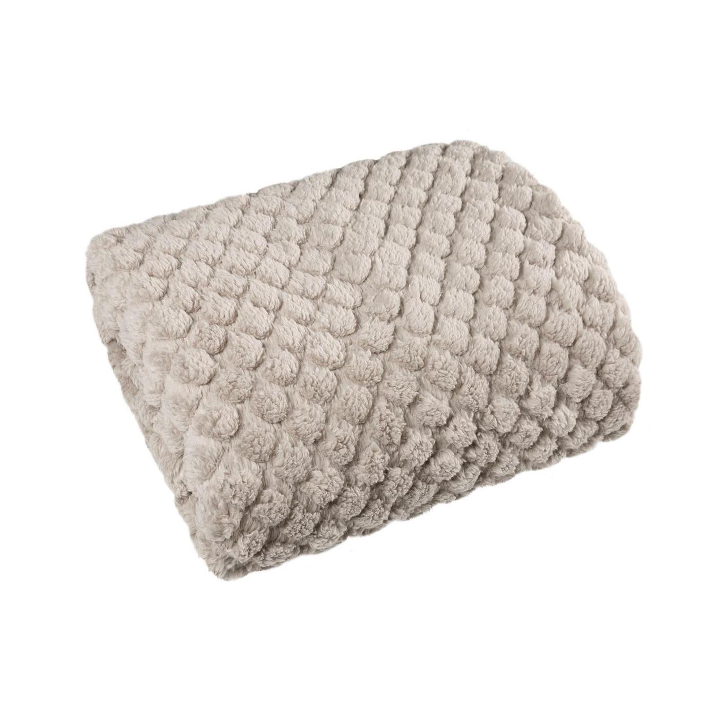 Narzuta na łóżko futerko 200x220 cm beżowa
