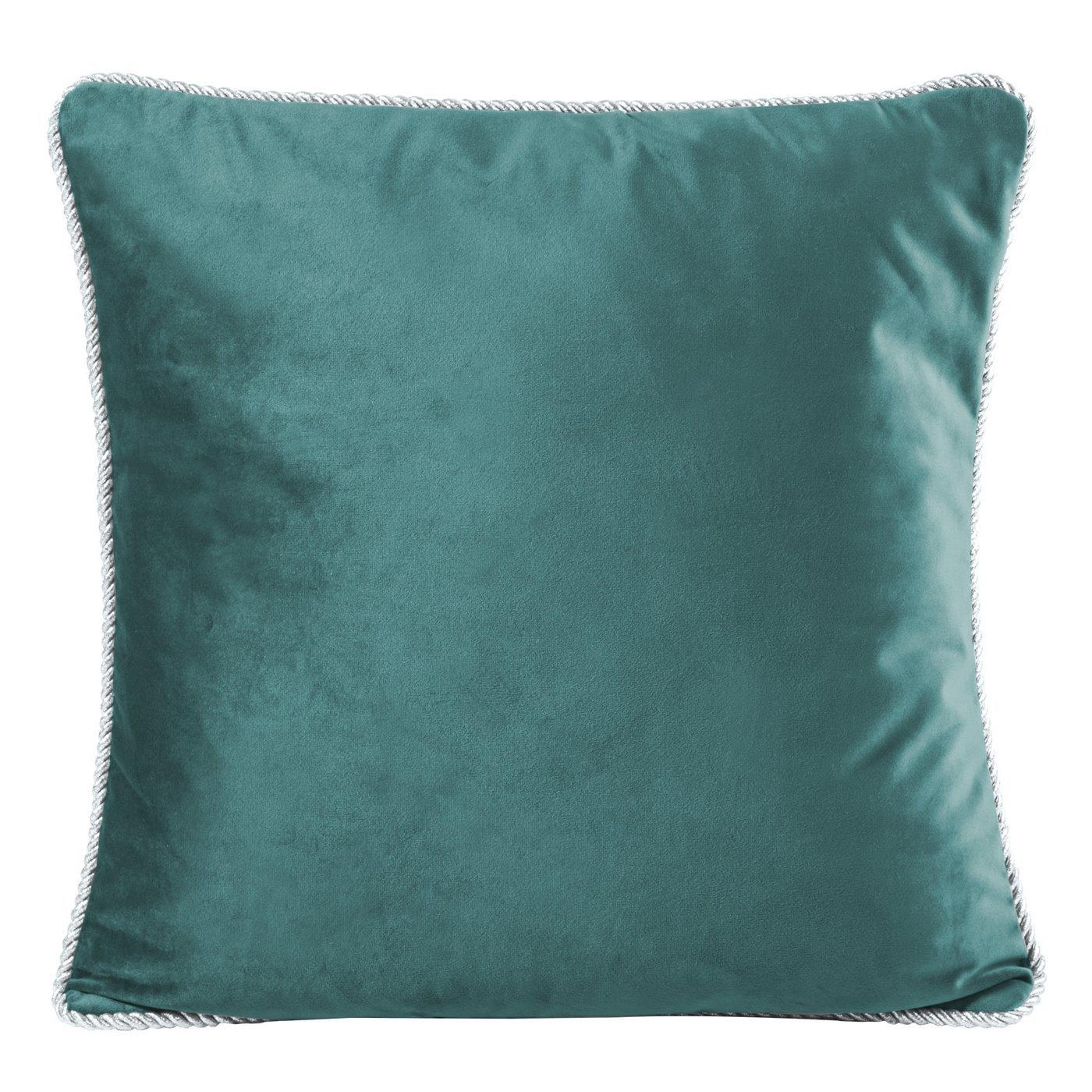 Poszewka na poduszkę welwetowa z lamówką 45 x 45 cm ciemno turkusowa
