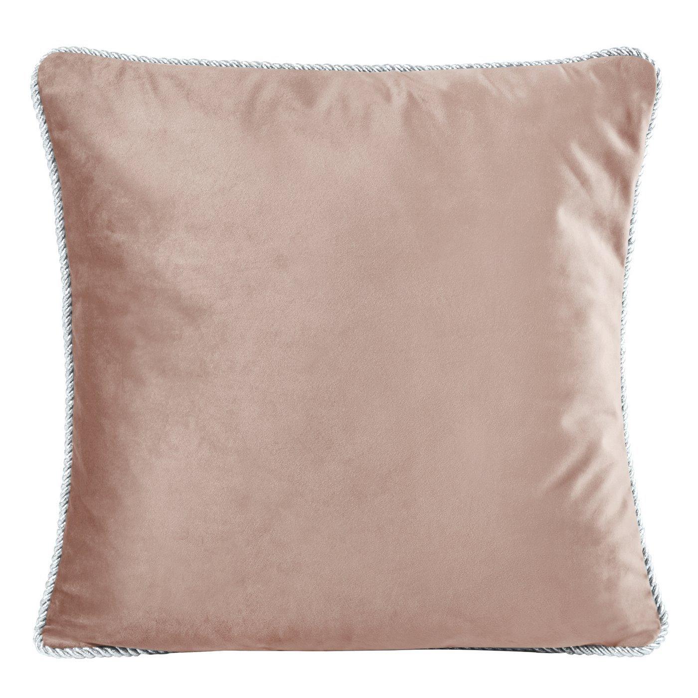 Poszewka na poduszkę welwetowa z lamówką 45 x 45 cm ciemno różowa