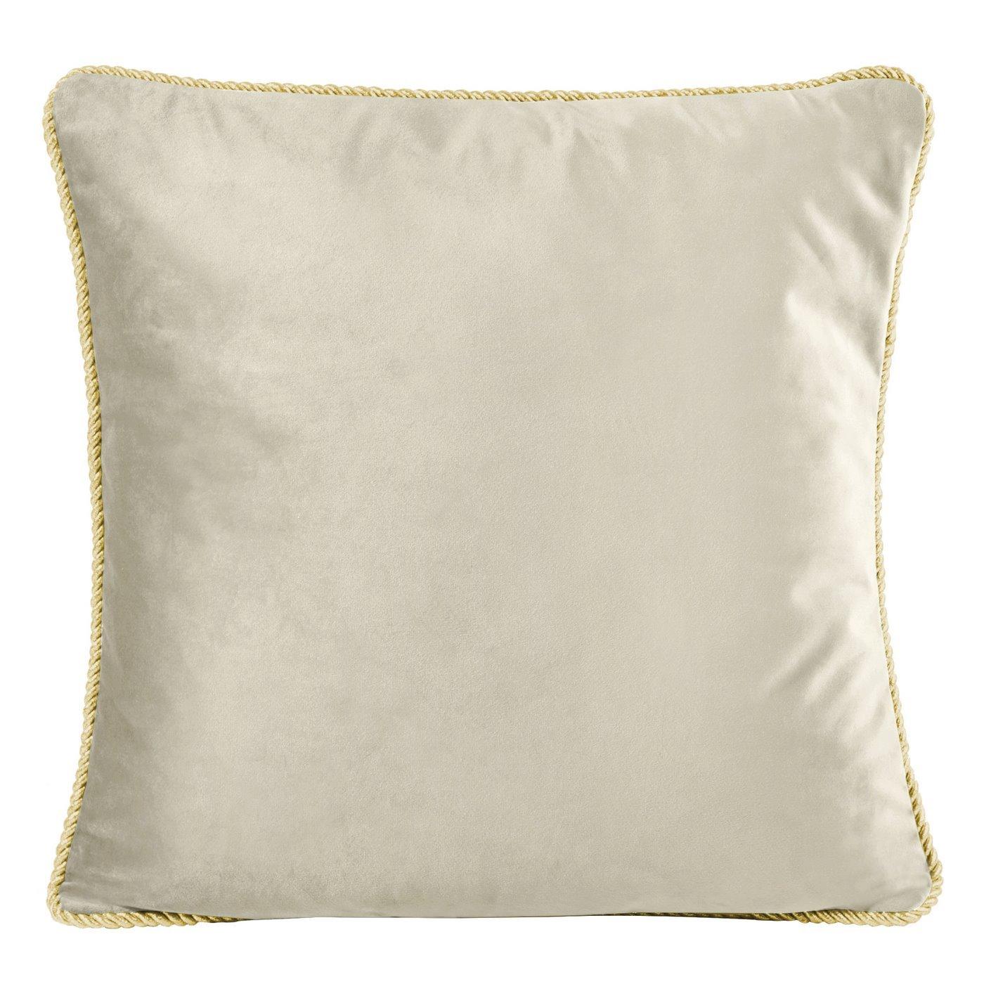 Poszewka na poduszkę welwetowa z lamówką 45 x 45 cm beżowa