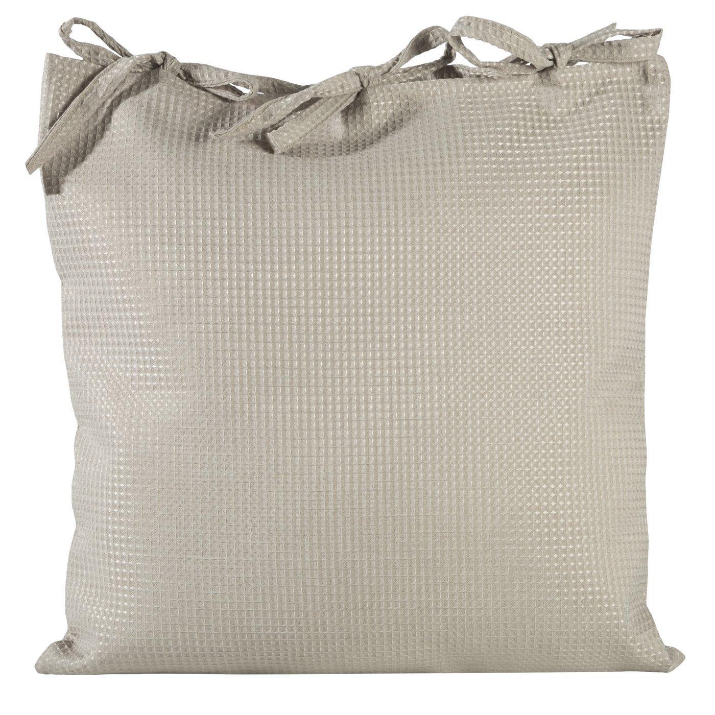 Poszewka na poduszkę 45 x 45 cm beżowa z paskami