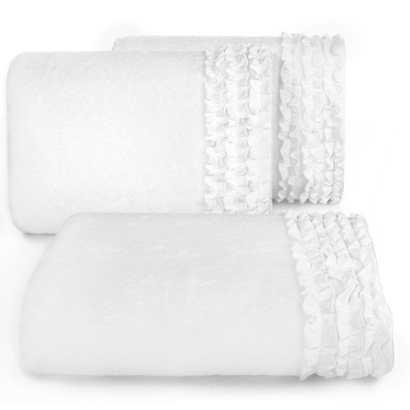 Ręcznik z bawełny z falbankami 50x90cm kremowy