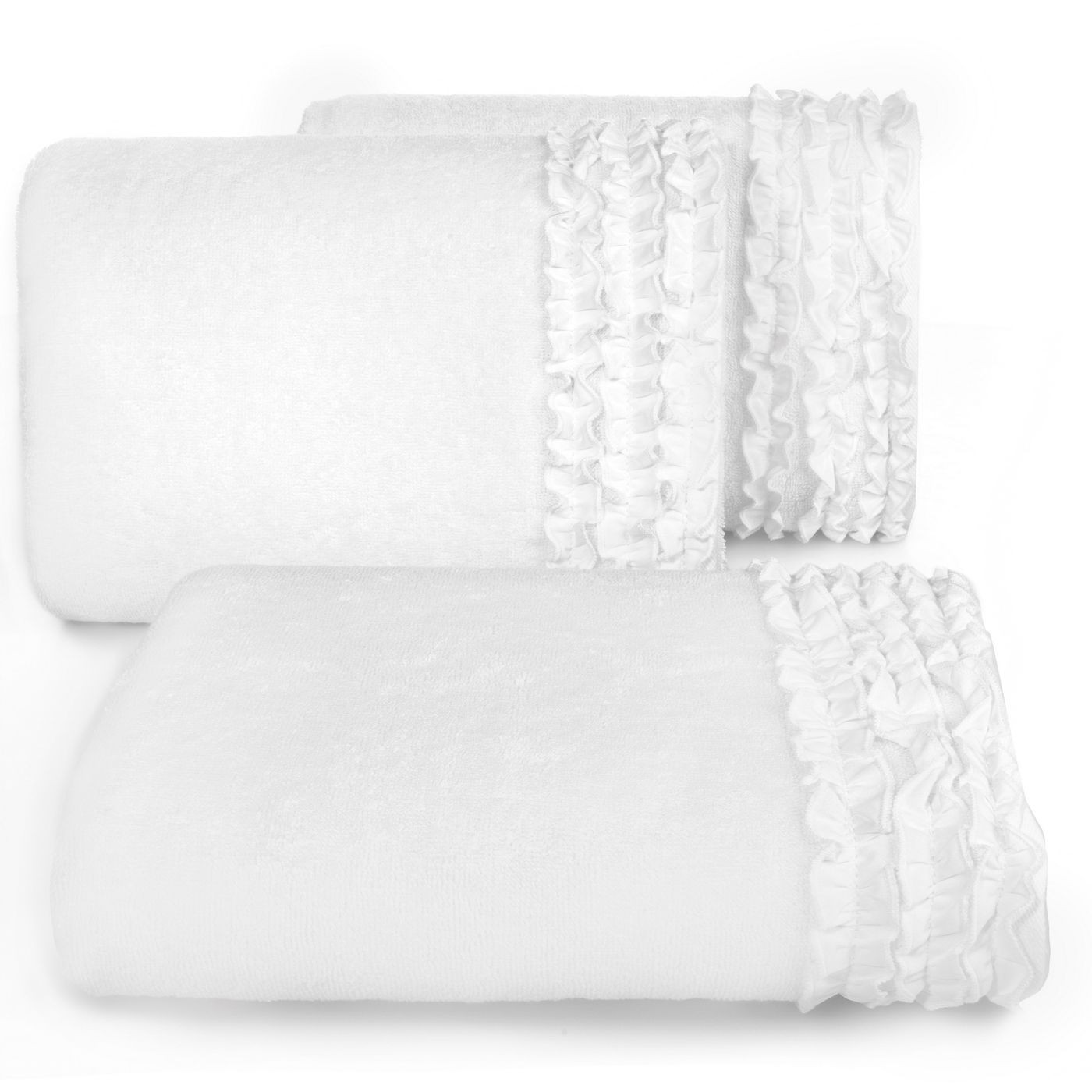 Ręcznik z bawełny z falbankami 70x140cm kremowy