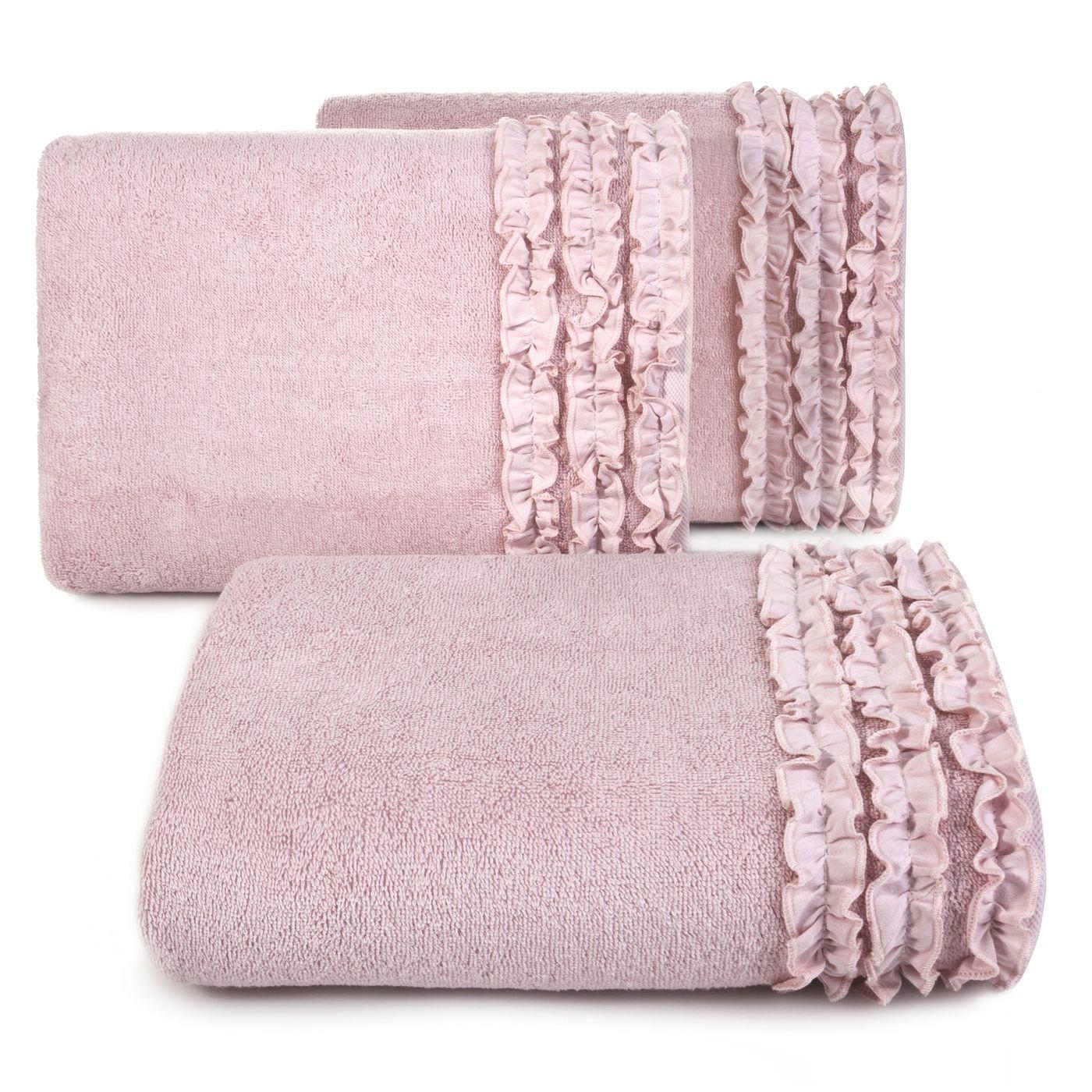 Ręcznik z bawełny z falbankami 50x90cm ciemnoróżowy