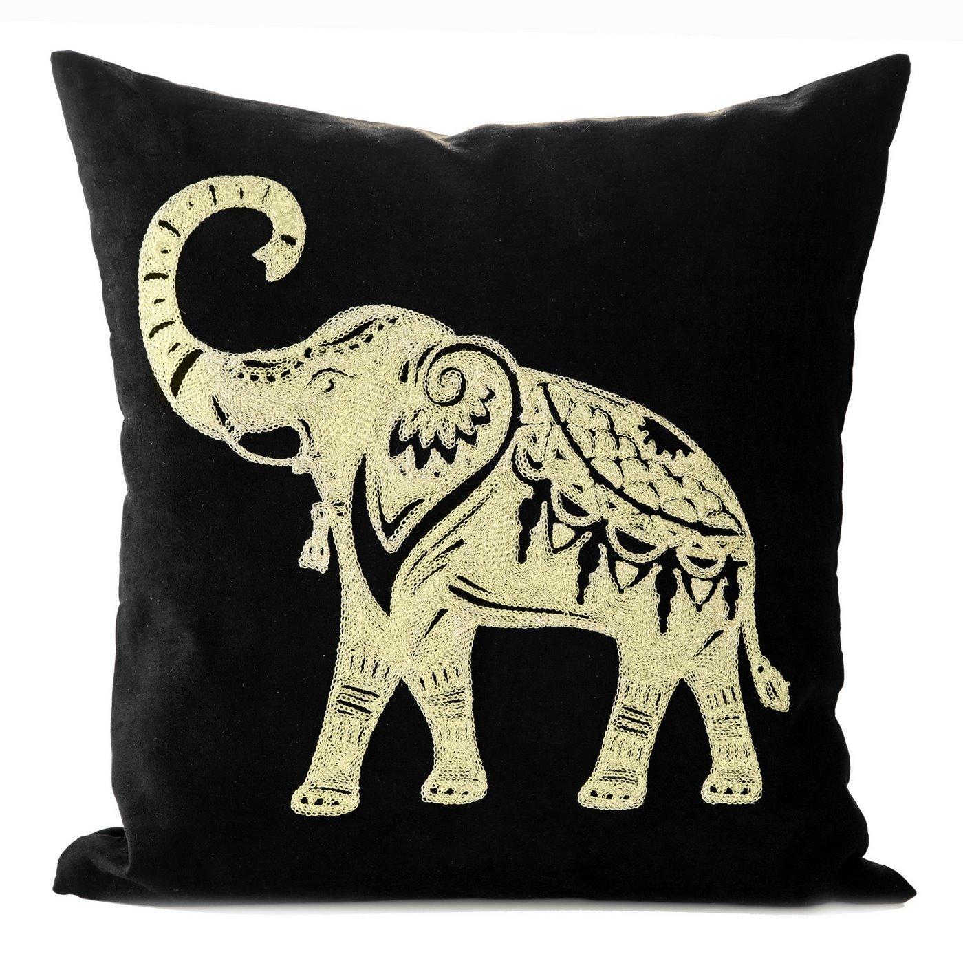 Poszewka dekoracyjna czarna haftowany złoty słoń 45 x 45cm