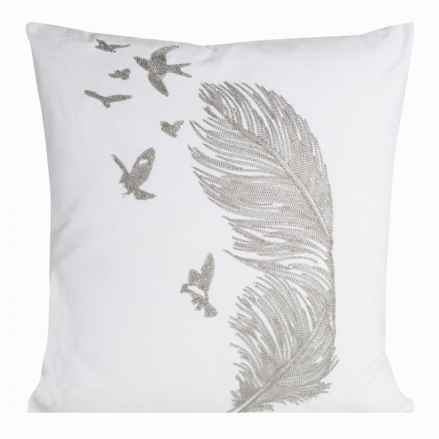 Poszewka na poduszkę 45 x 45 cm biała ze srebrnym piórem