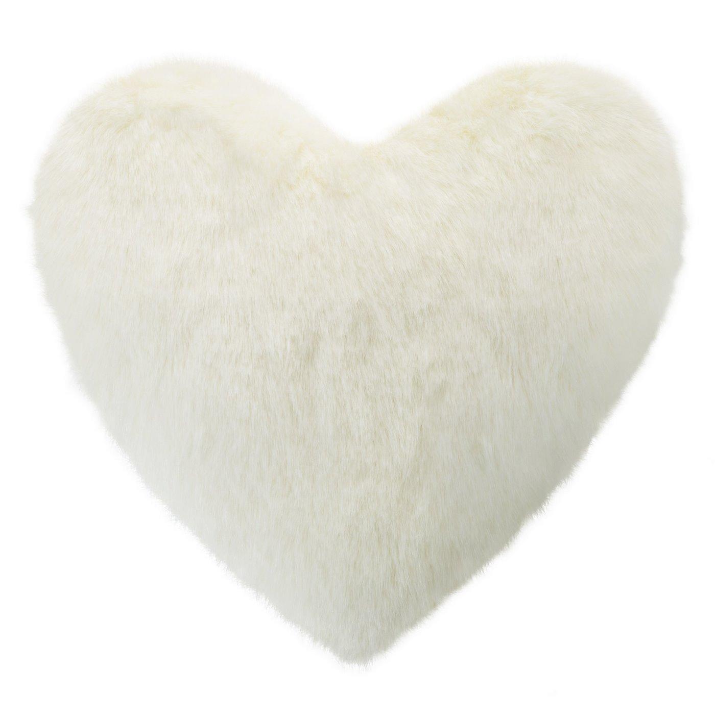 Poszewka na poduszkę w kształcie serca kremowa