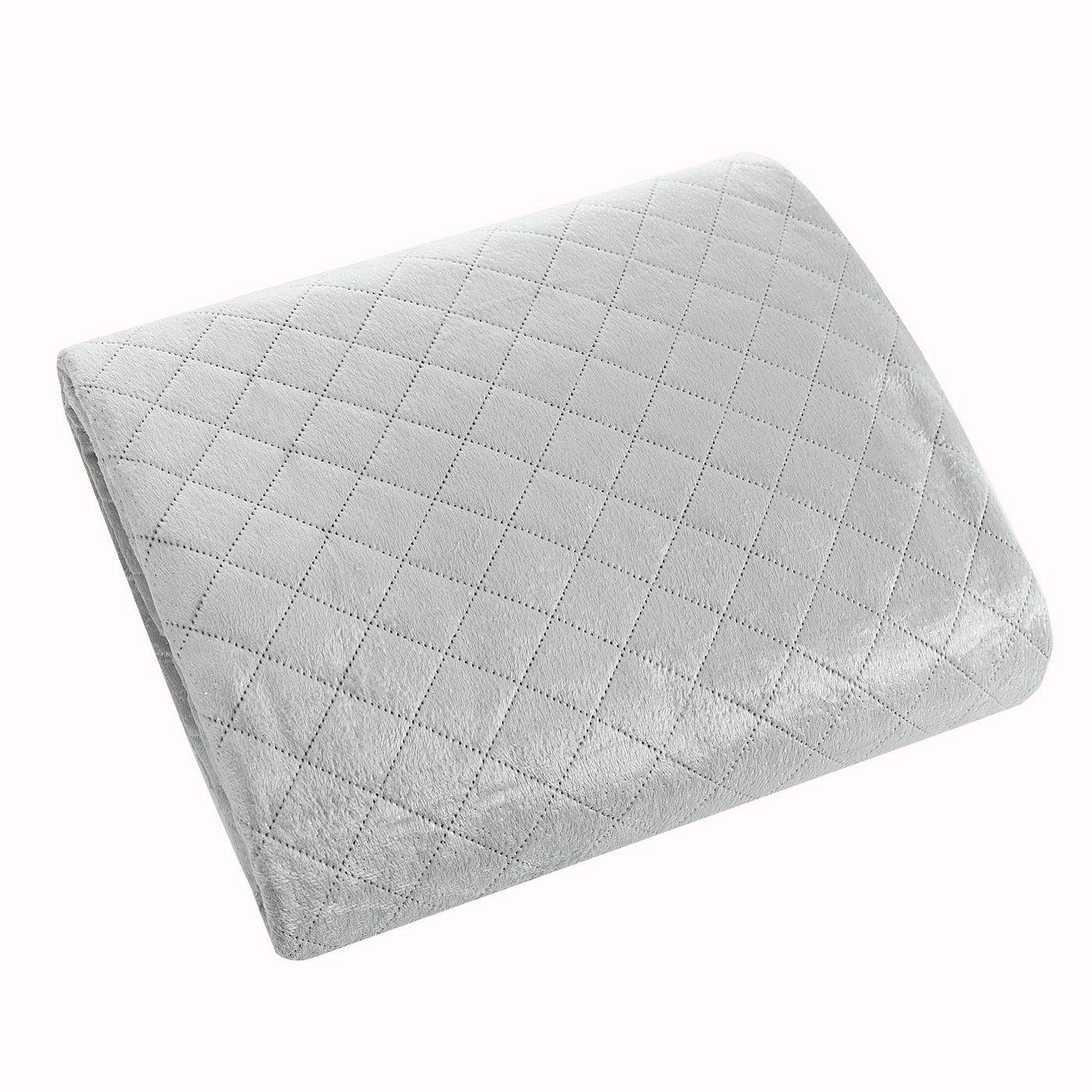 Narzuta na łóżko pikowana hotpress 170x210 cm srebrna