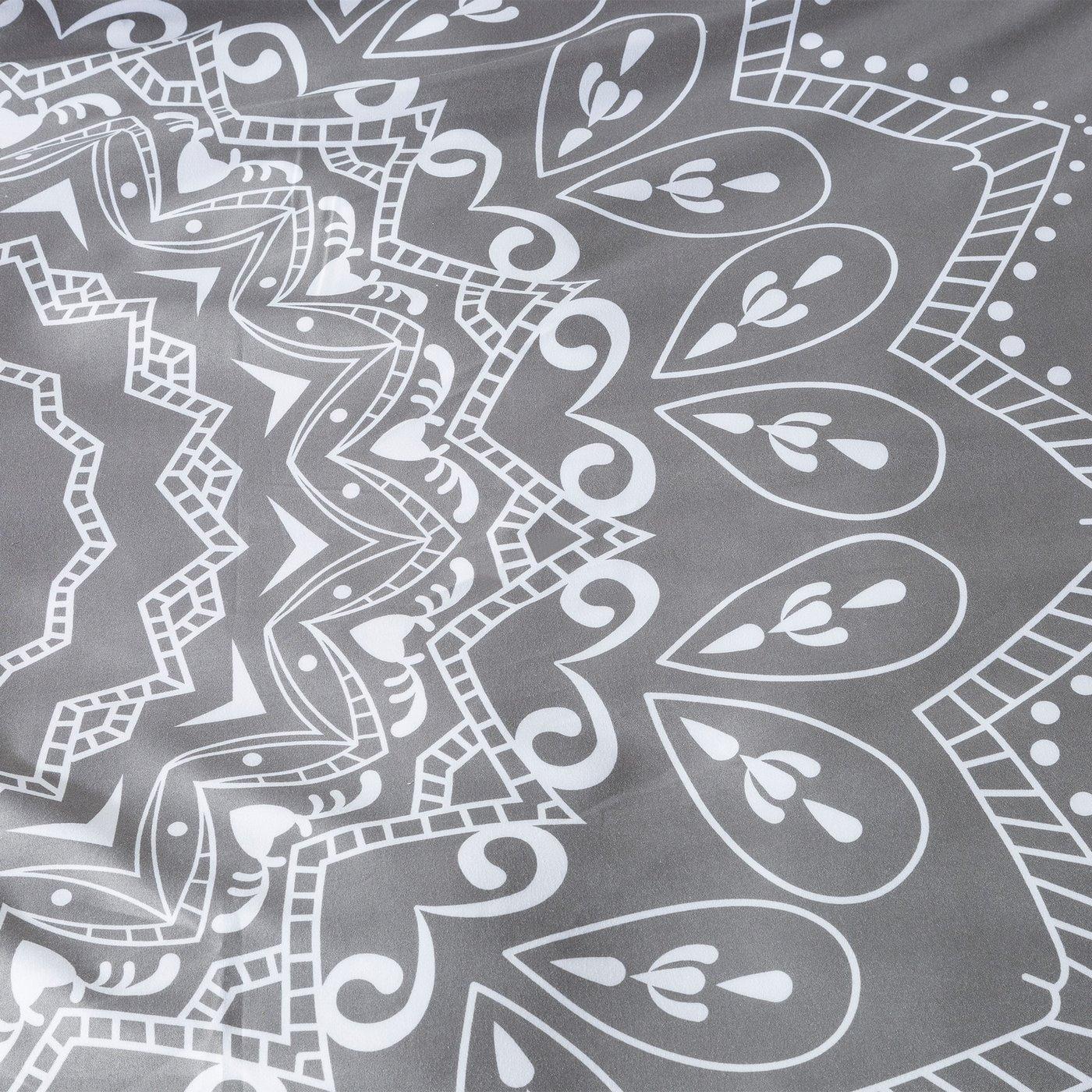 Komplet pościeli z MIKROFIBRY 160 x 200 cm, 2 szt. 70 x 80 cm, szara, biały wzór