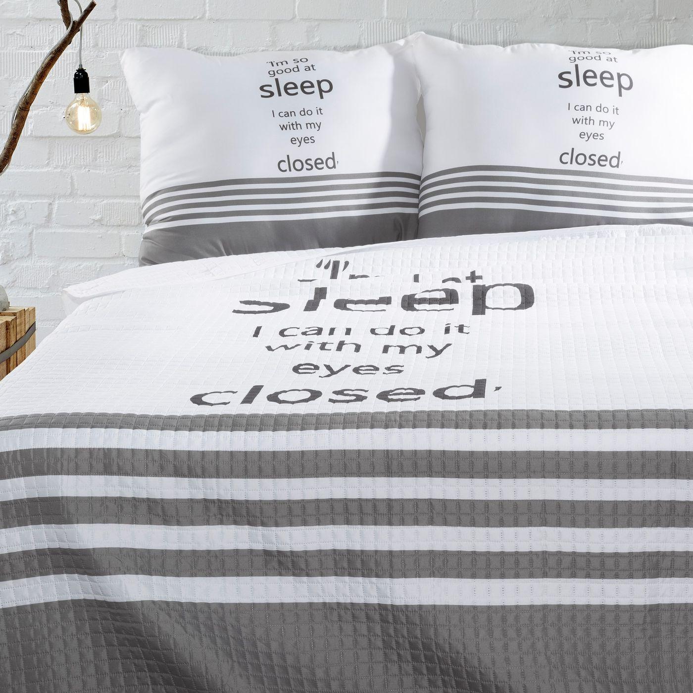 Narzuta na łóżko dwukolorowa z napisem 220x240 cm czarno-biała
