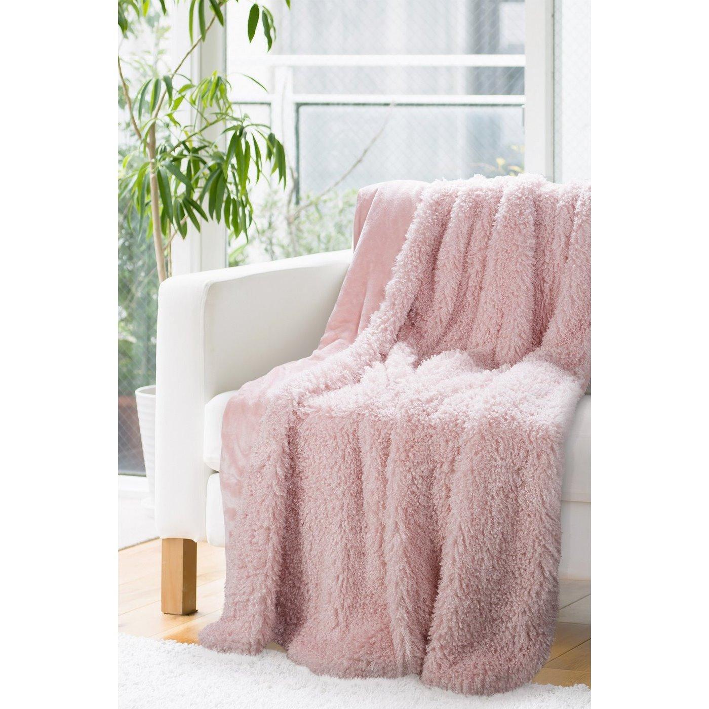 Futerkowy KOC PATTY różowy puszysty 150x200