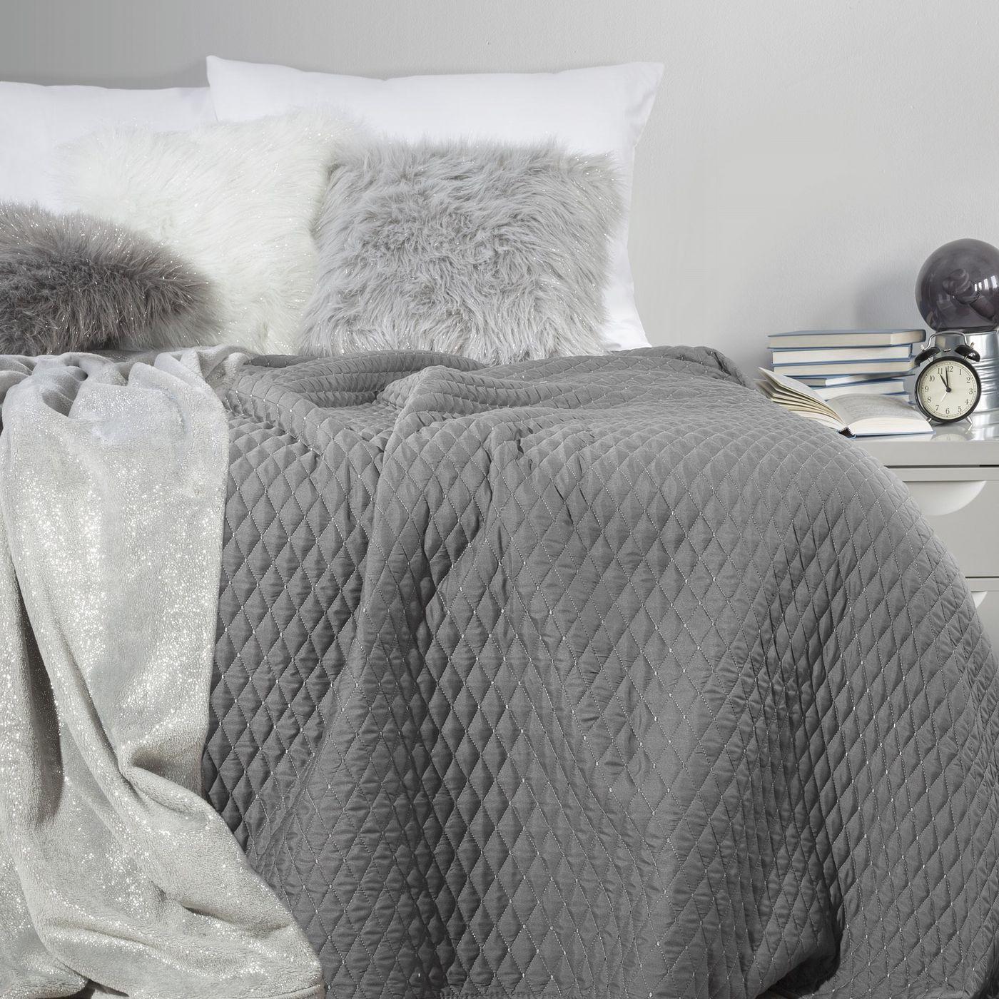 Pikowana narzuta na łóżko stalowy szary 200x220 cm