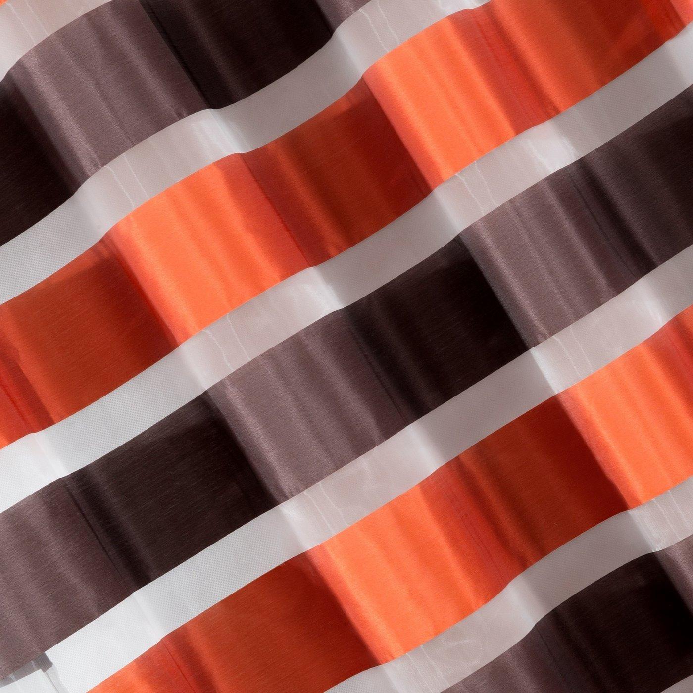 Zasłona poziome atłasowe pasy+organza brązowy+pomarańczowy przelotki 140x250cm