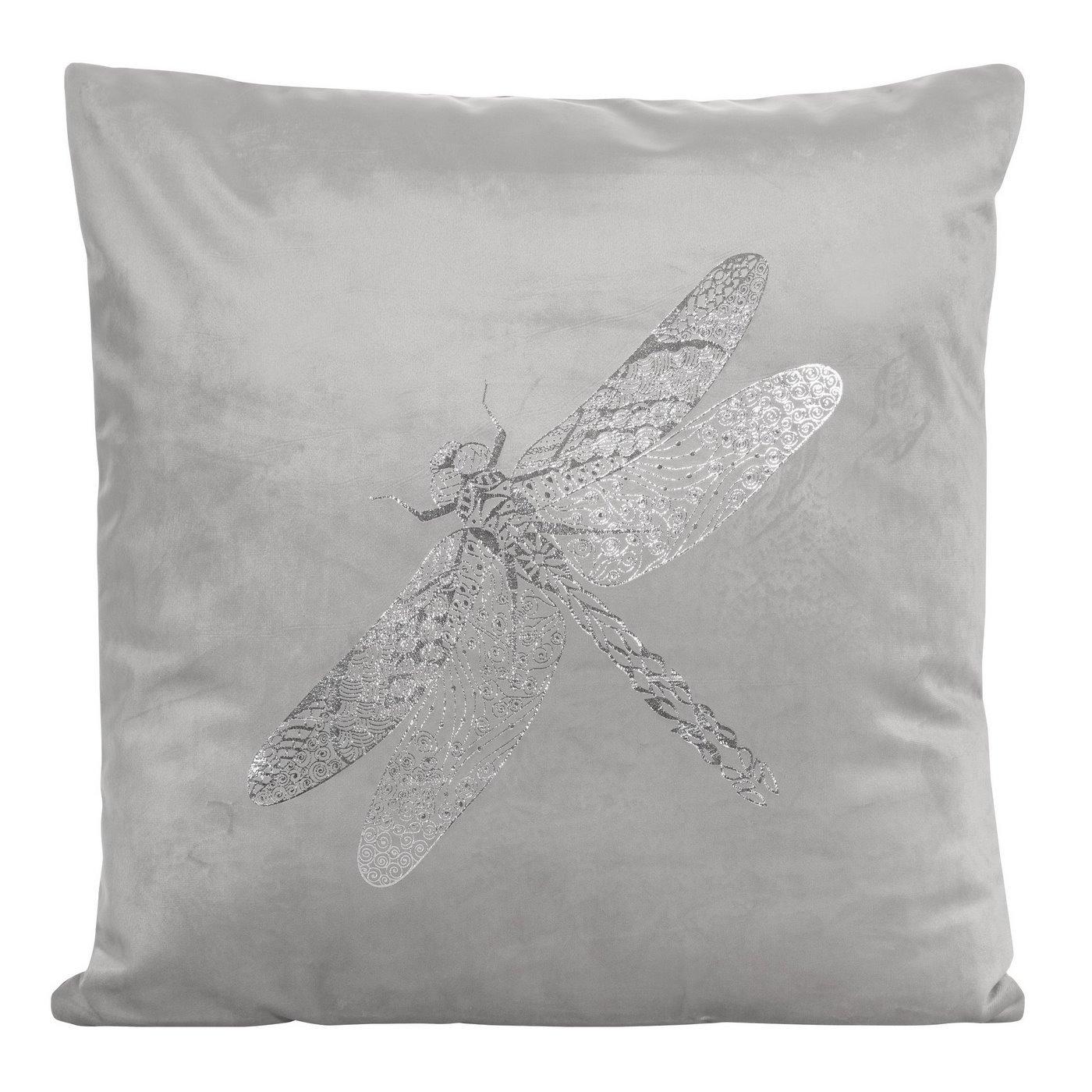 Poszewka na poduszkę srebrna ze srebrną ważką 45 x 45 cm