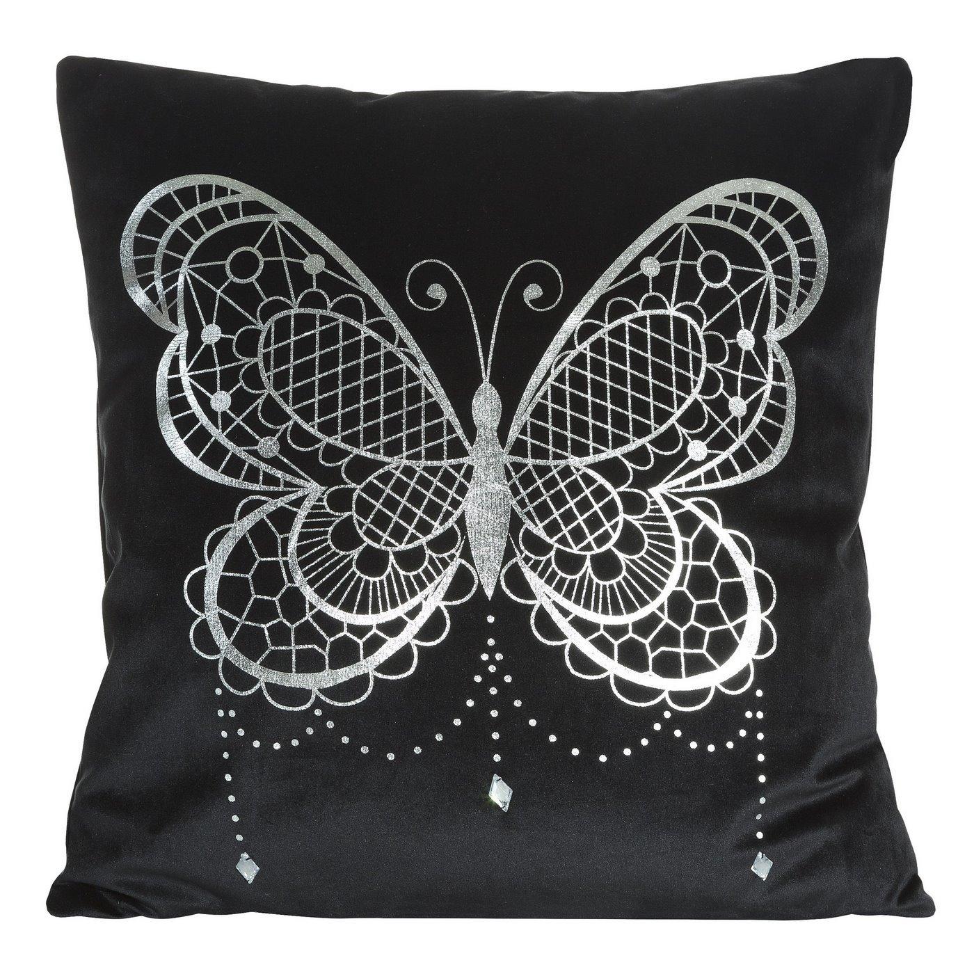 Poszewka na poduszkę czarna ze srebrnym motylem  45 x 45 cm