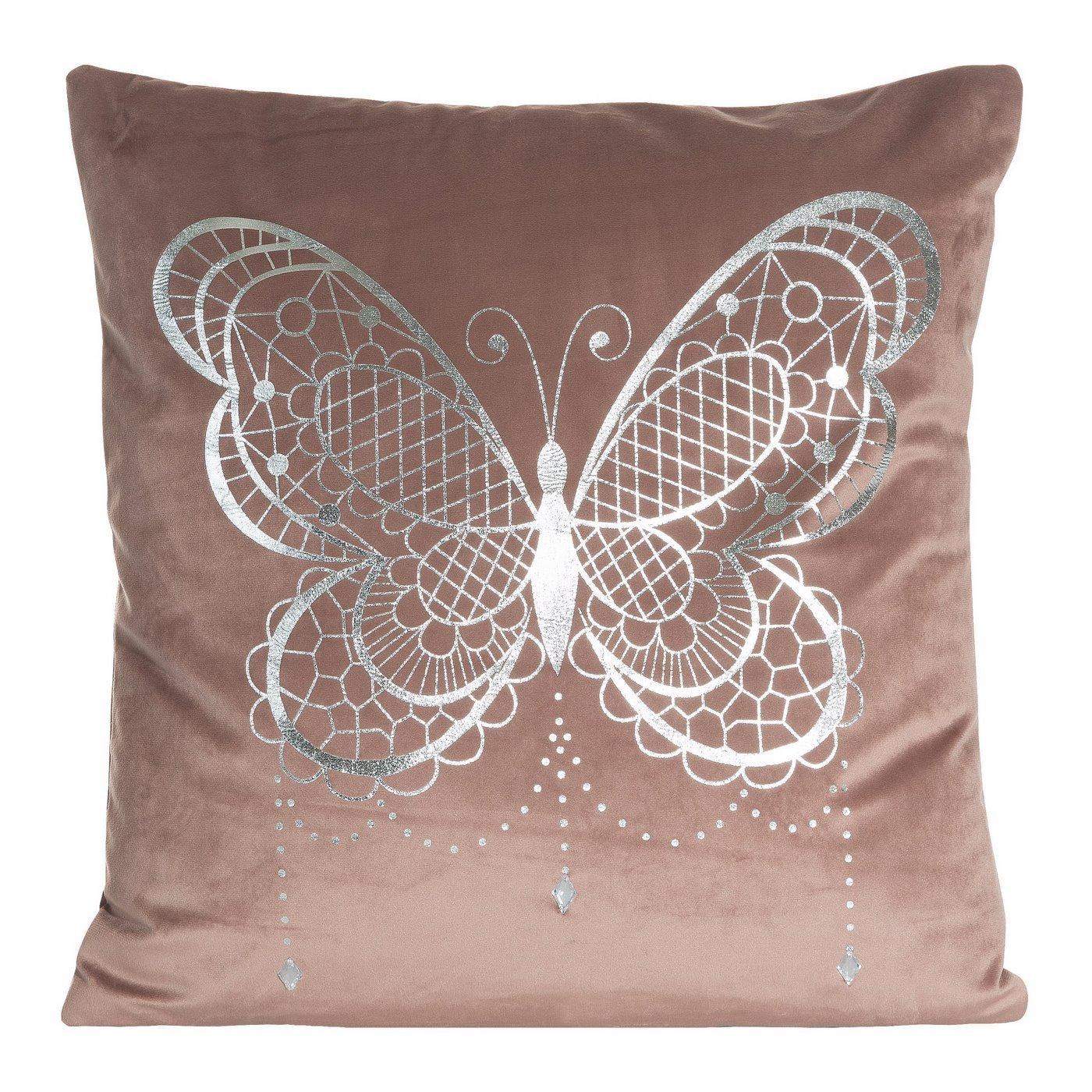 Poszewka na poduszkę różowa ze srebrnym motylem 45 x 45 cm