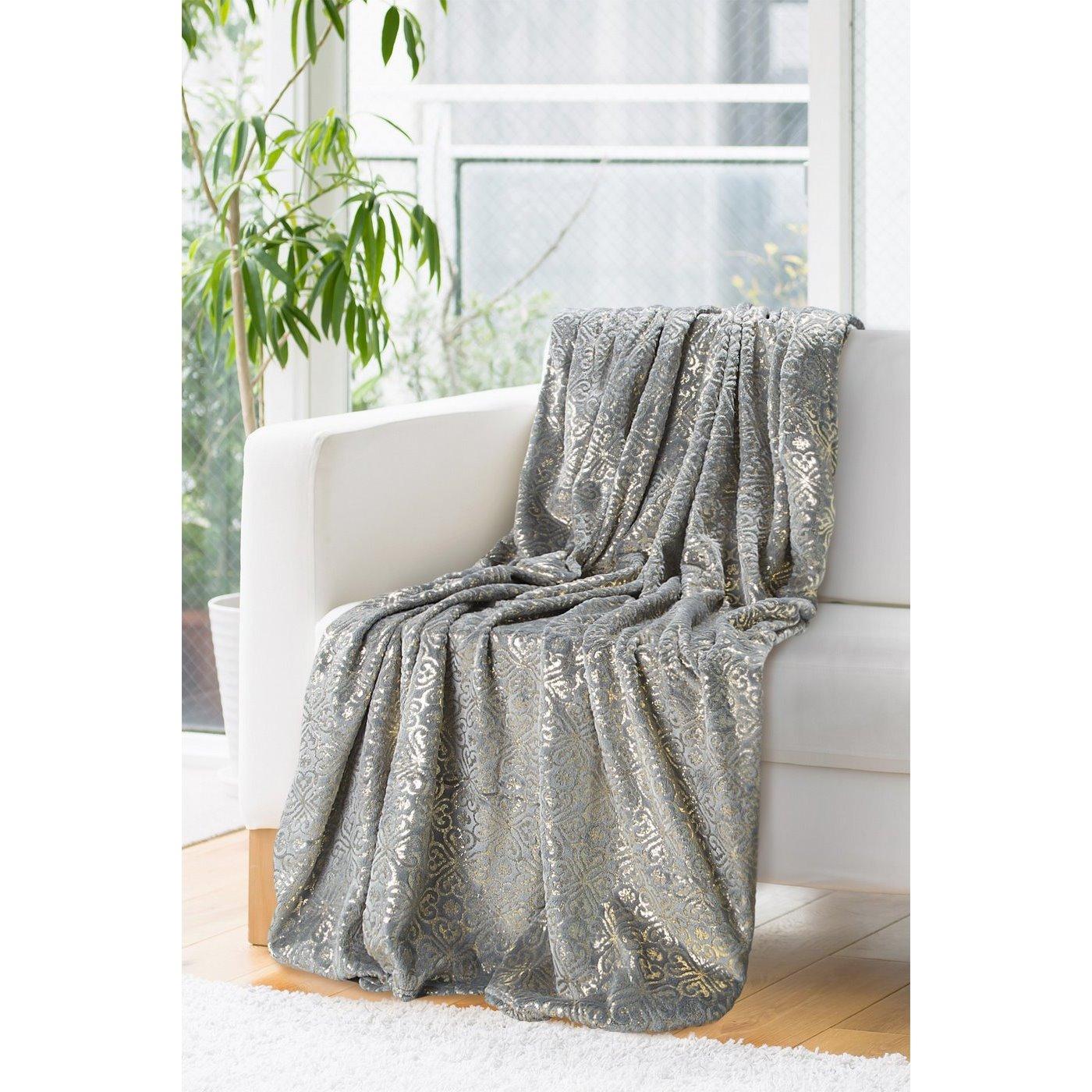 Elegancki koc z ORNAMENTEM stalowy i złoty 150x200cm