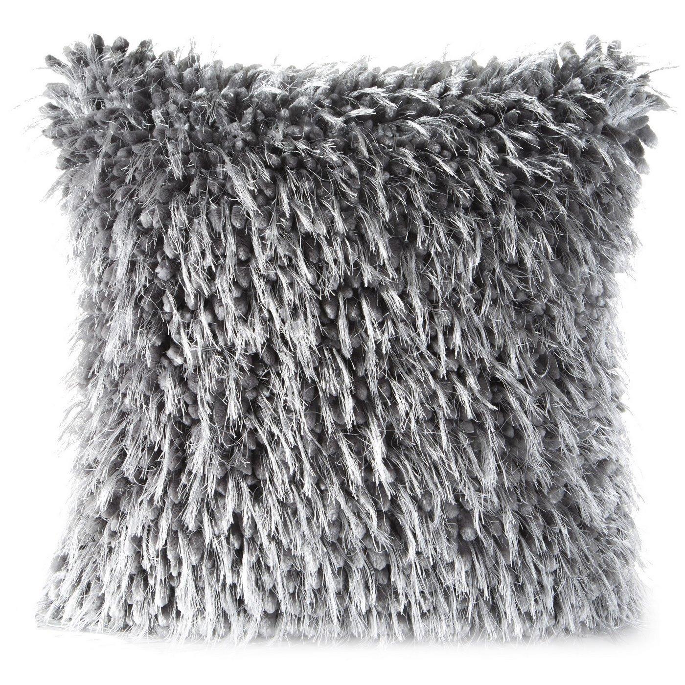 Poszewka na poduszkę 40 x 40 cm włochata stalowo szara
