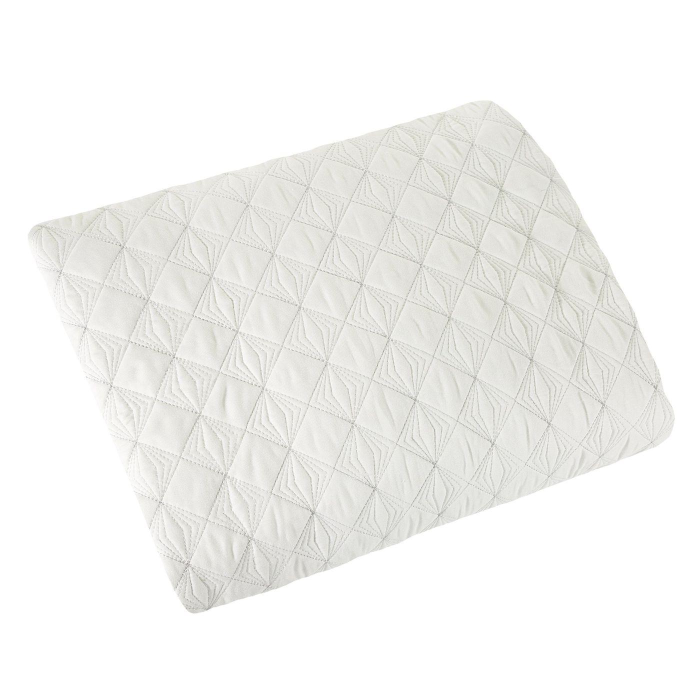 Narzuta na łóżko pikowana srebrna nić 170x210 cm biała