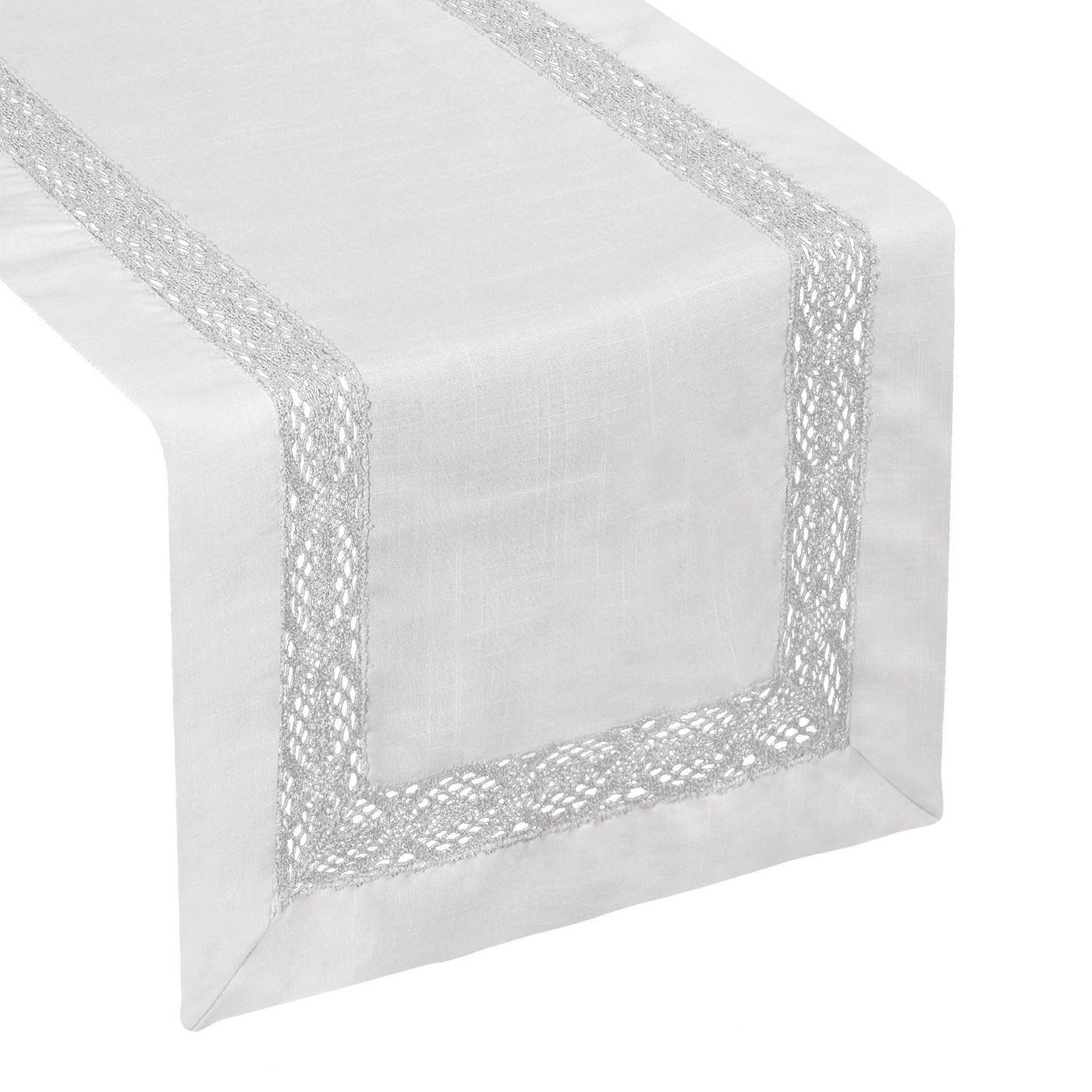 Srebrny bieżnik z aplikacją z gipiury 40x140 cm