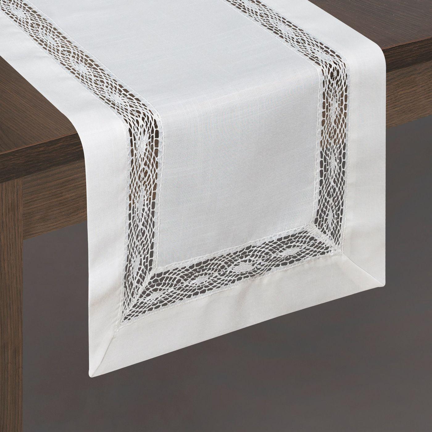 Biały bieżnik na stół do jadalni z mereżką 40x140 cm