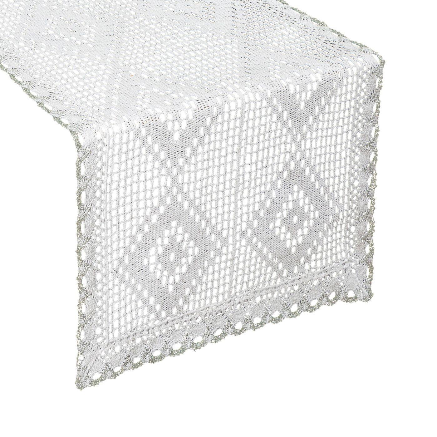 Koronkowy bieżnik na stół biały srebrny 40x140 cm