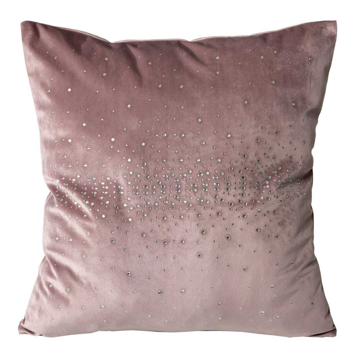 Rożowa POSZEWKA OZDOBNA Kasandra velvet z kryształami 45x45 cm