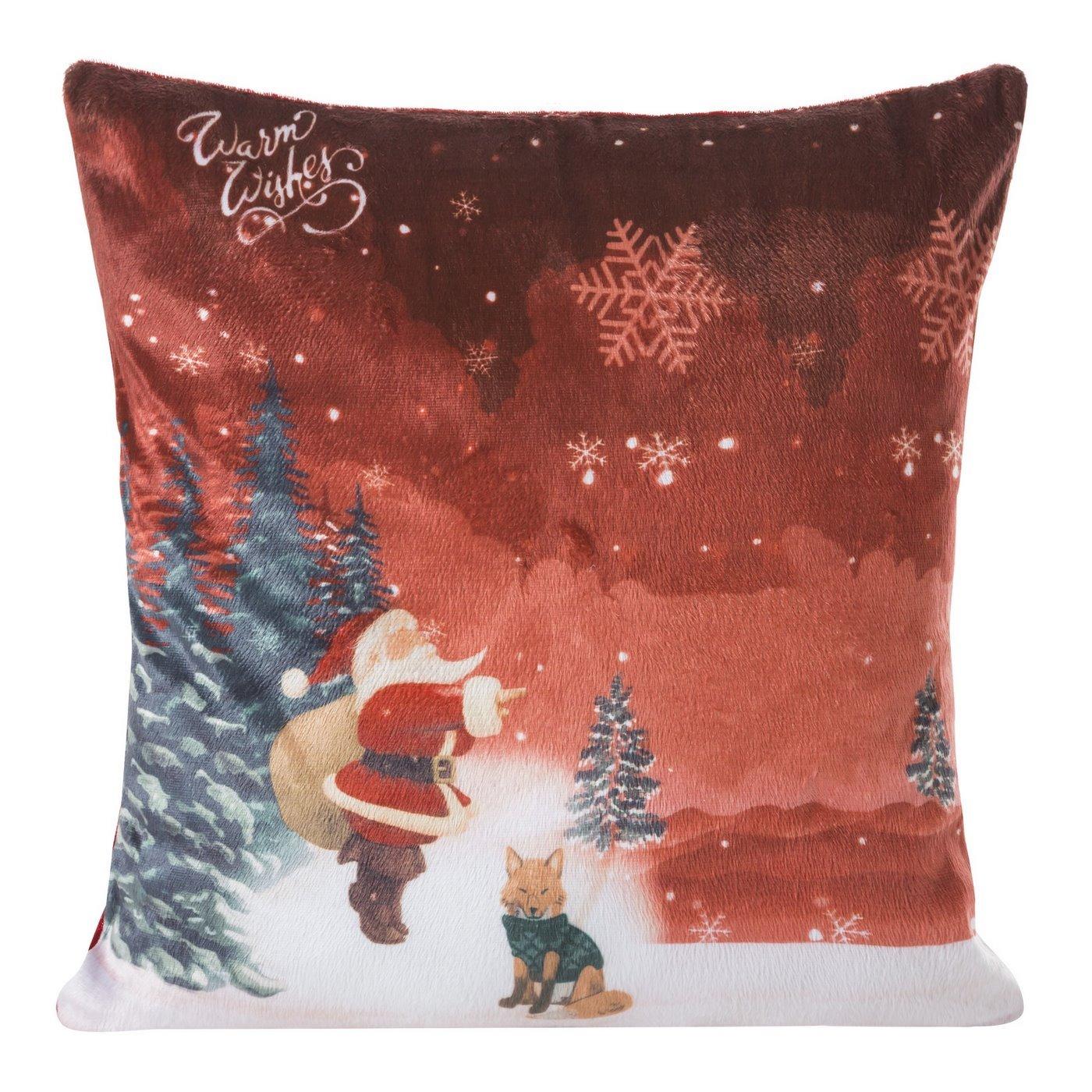 Poszewka na poduszkę 40 x 40 cm czerwona Mikołaj