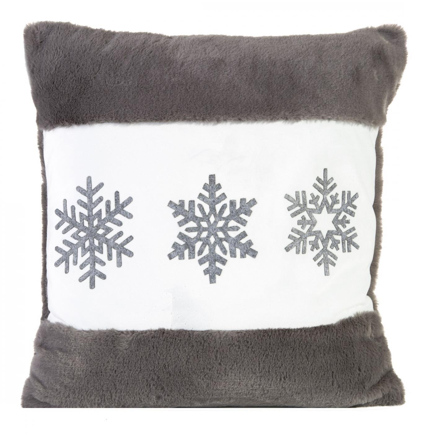 Poszewka na poduszkę śnieżynki 45 x 45cm szaro-biała