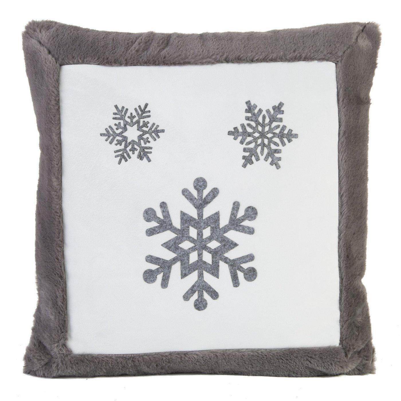 Poszewka na poduszkę śnieżynka 45 x 45cm szaro-biała