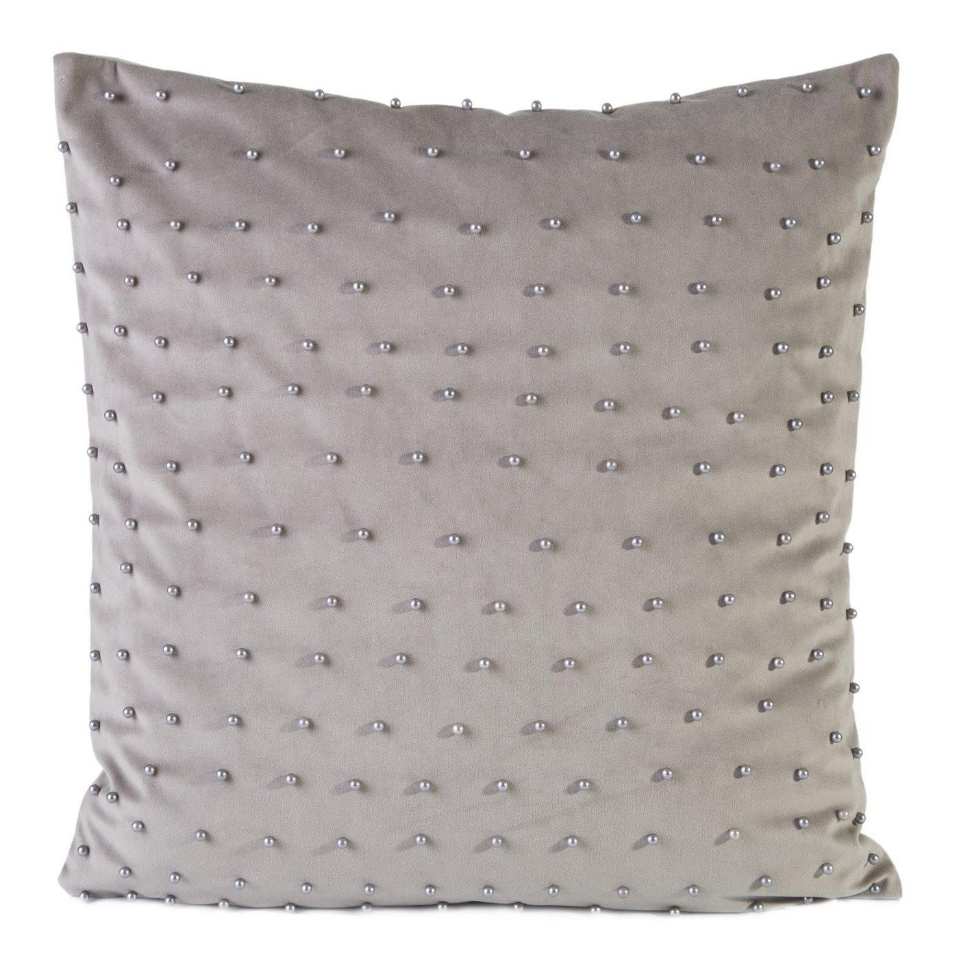 Poszewka na poduszkę 45 x 45 cm szaro beżowa z perełkami