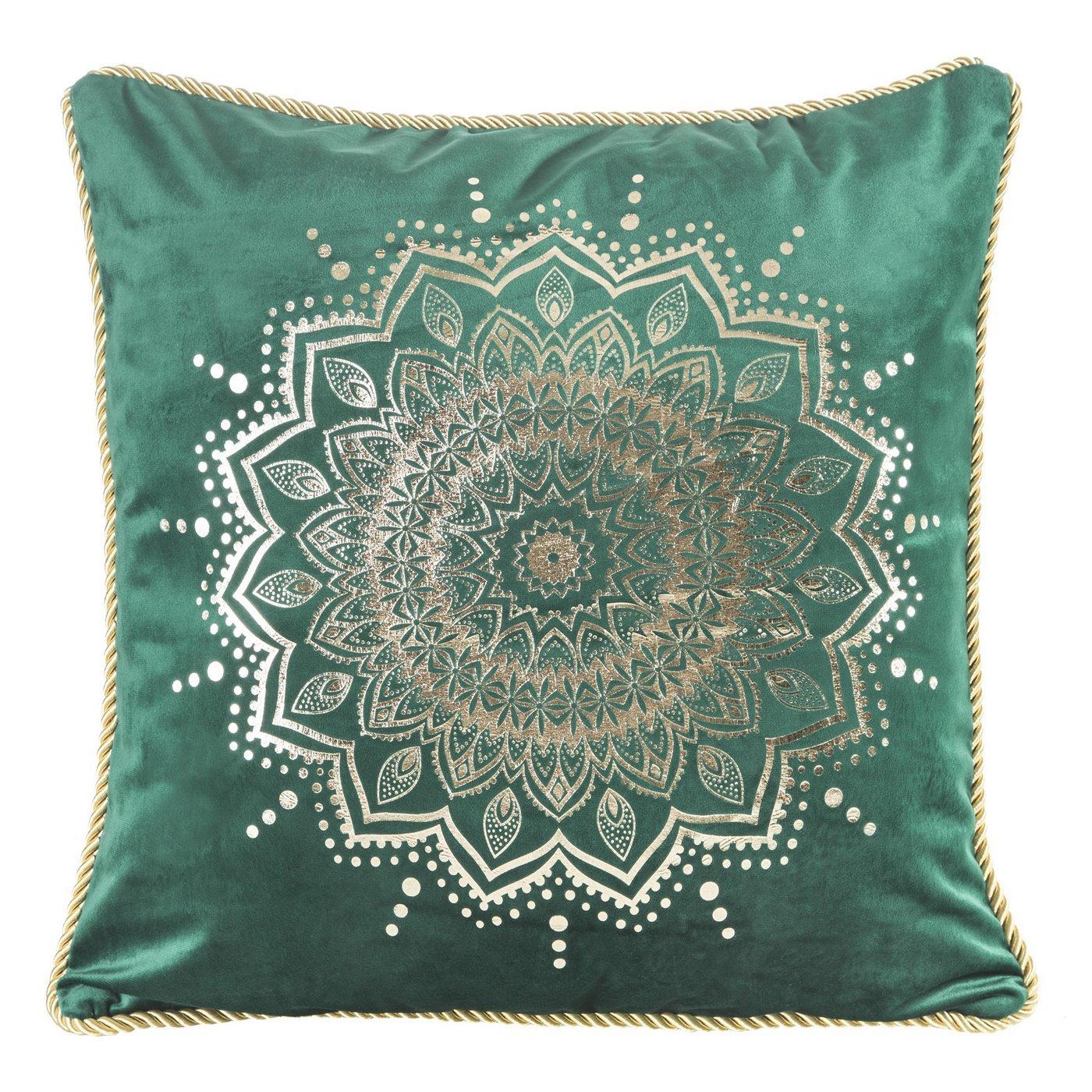 Poszewka na poduszkę welwetowa z lamówką mandala 45 x 45 cm ciemno zielona