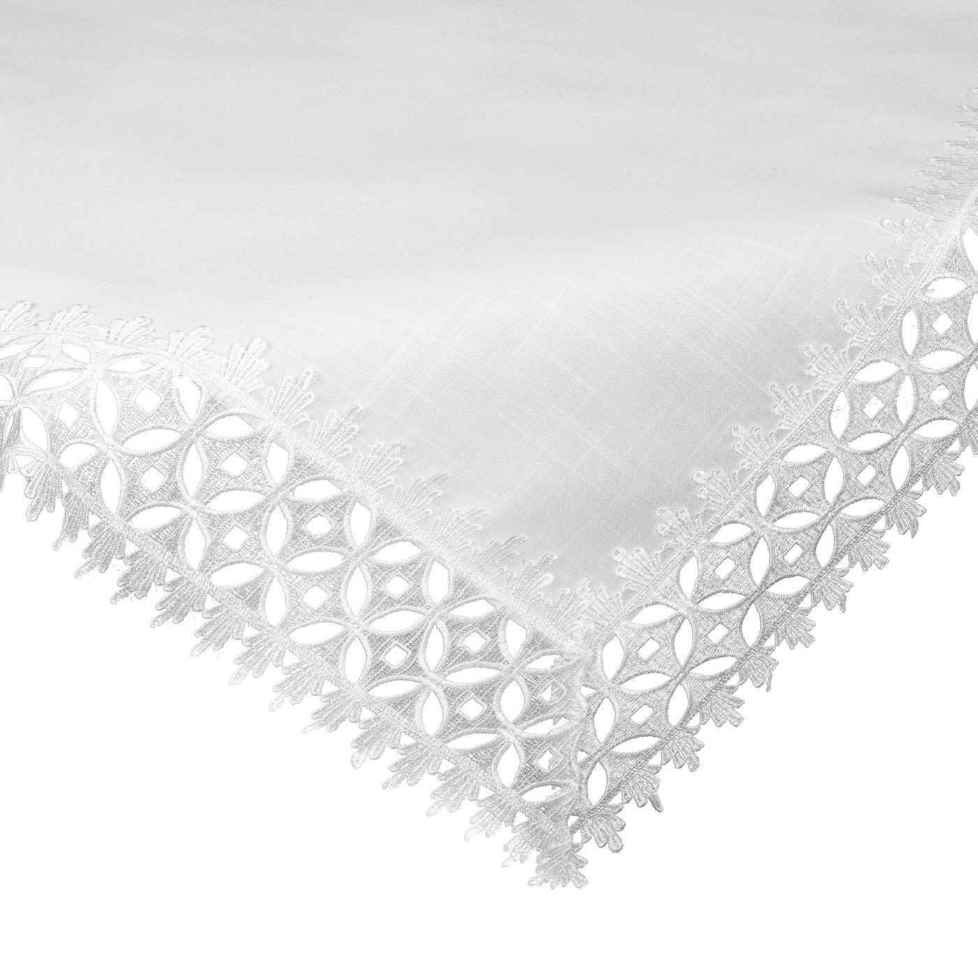 Biały klasyczny obrus z gipiurą do jadalni 80x80 cm