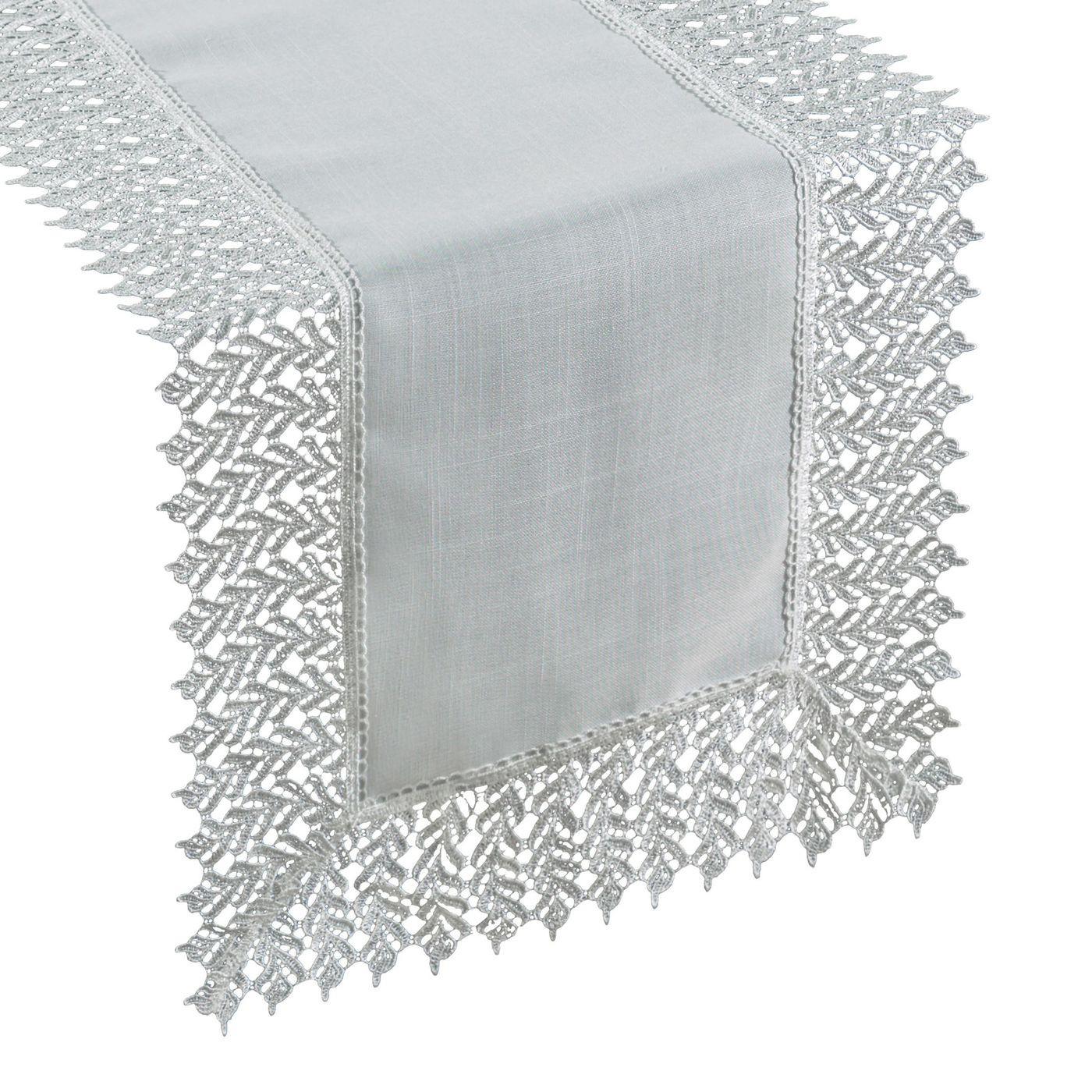 Srebrny BIEŻNIK NA STÓŁ do JADALNI gipiura 35x140 cm