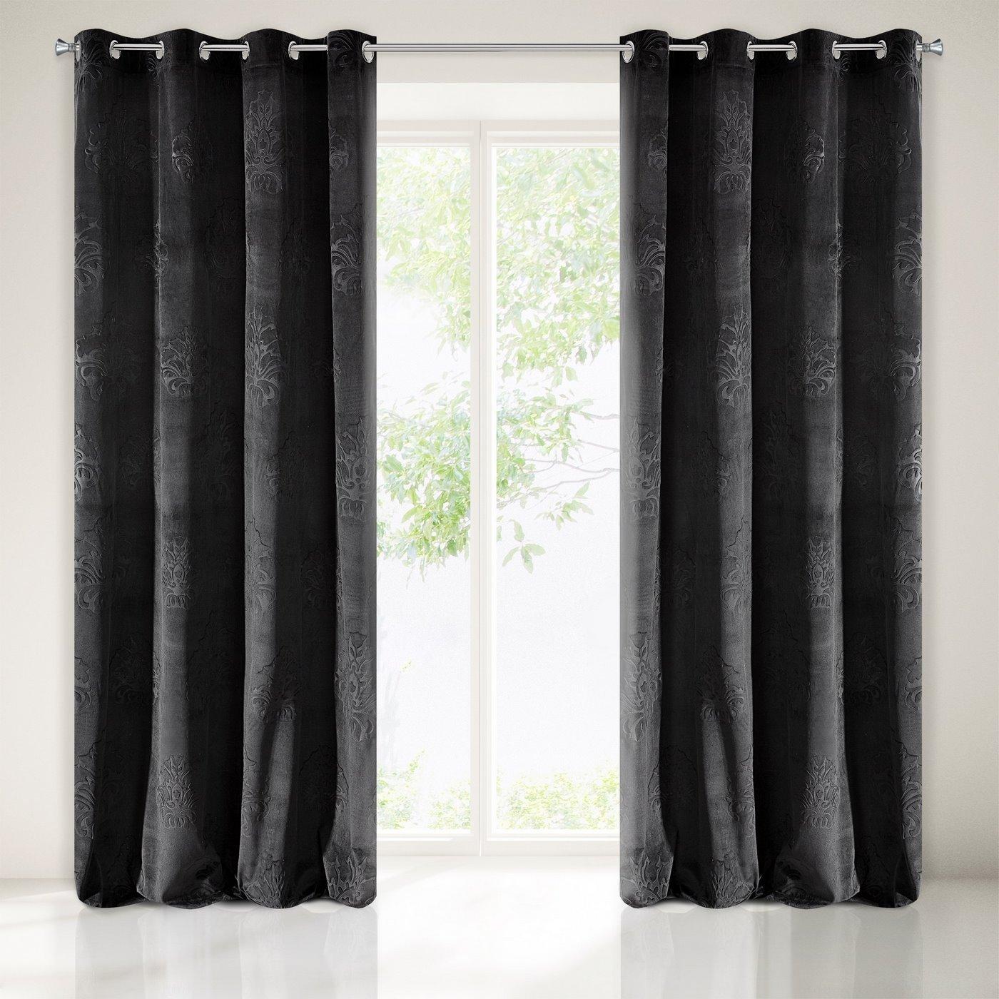 Zasłona welwetowa czarna z ornamentowym wzorem 140x250 cm przelotki