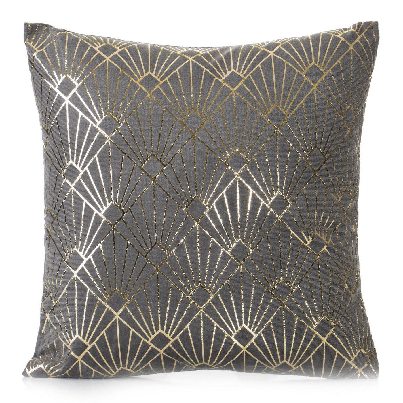 Poszewka na poduszkę z stalowa ze wzorem ze złotej nici 40 x 40 cm