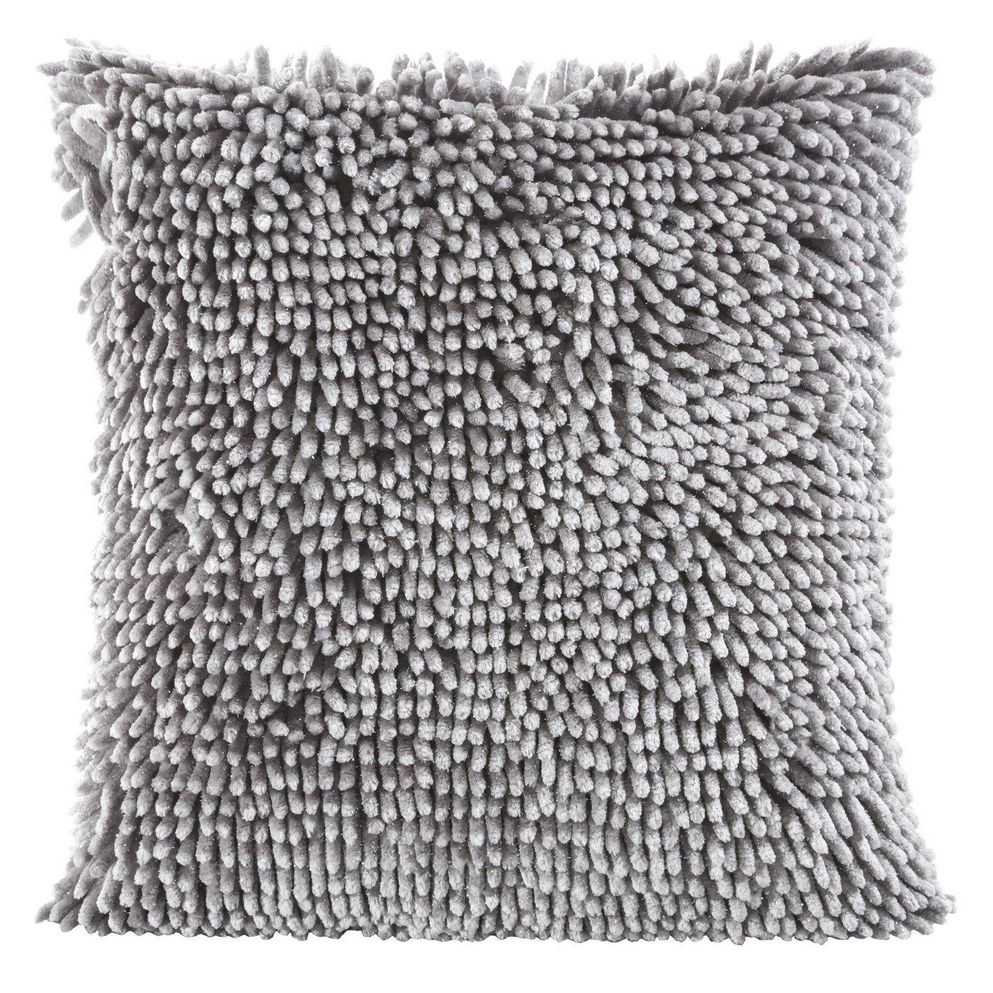 Poszewka na poduszkę włosie shaggy srebrna 40 x 40 cm